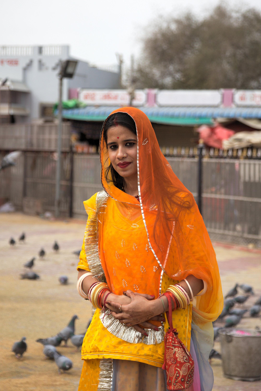A beautiful lady outside the Karni Mata temple in Bikaner, Rajasthan