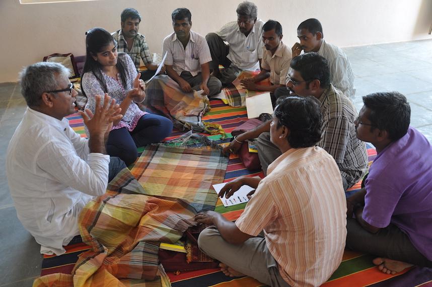 Outreach- teaching weavers in Bagalkot.JPG