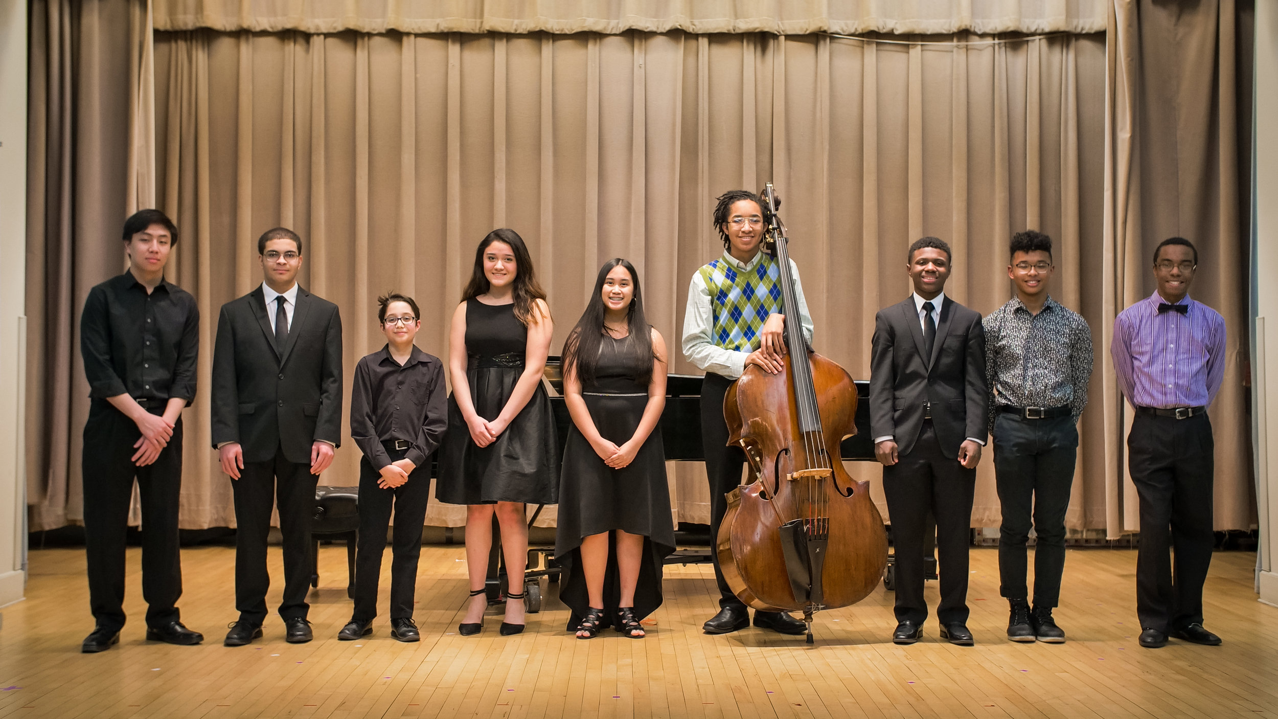 Left to right: Gabriel Gaw (Double Bass, 11th grade), Alex Phipps (Clarinet, 11th grade), Miro Raj (Violin, 6th grade), Helena Munoz (Violin, 10th grade), Kintan Silvany (Harp, 10th grade), Braden Ellis (Double Bass, 11th grade), Myles Bell (Violin, 10th grade), Blue Shelton (Flute, 10th grade), Christian Kercy (11th grade).   Click here for repertoire and video