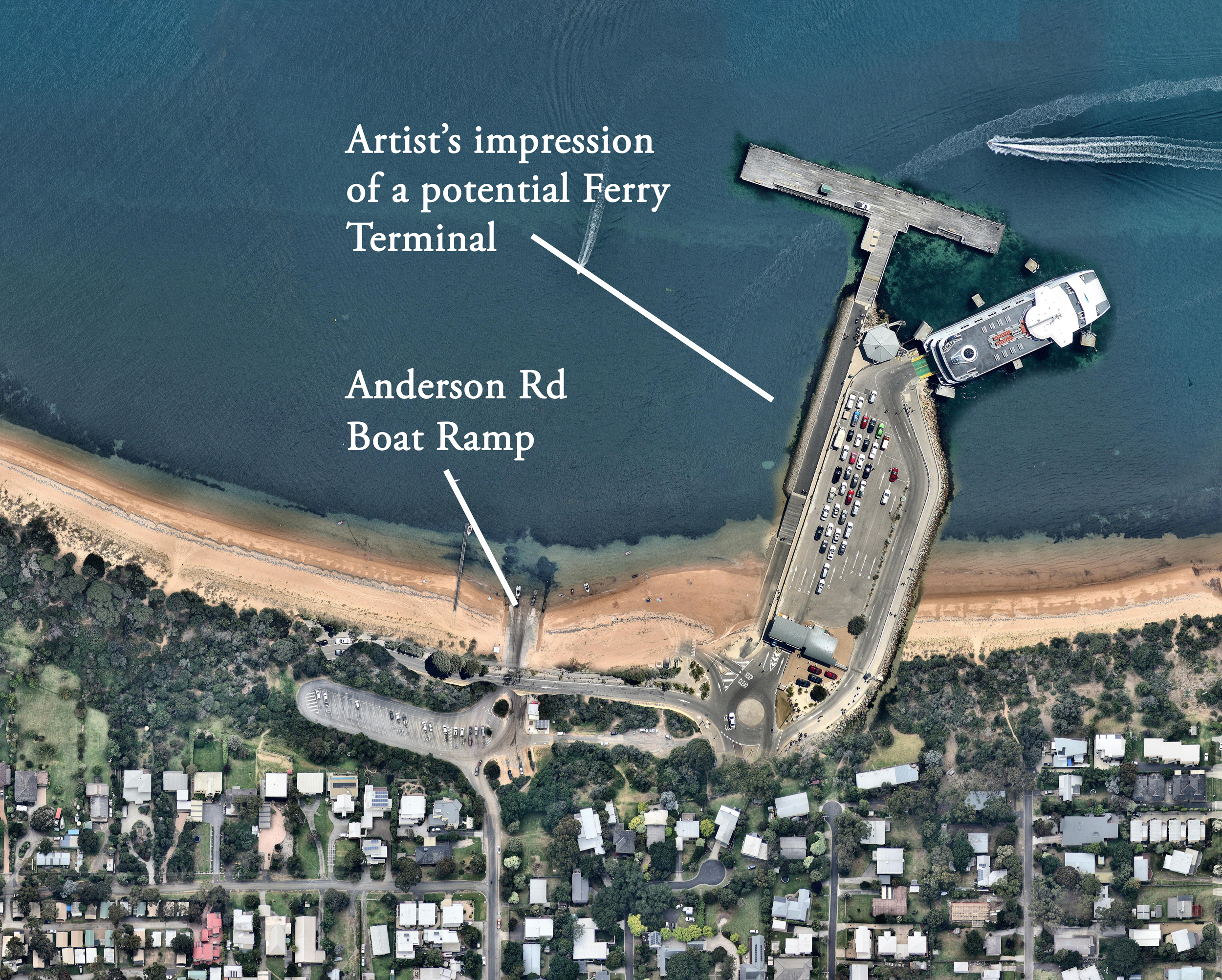 This is an artist's impression of what the proposed car ferry terminal could look like, based on the Sorrento car ferry terminal.