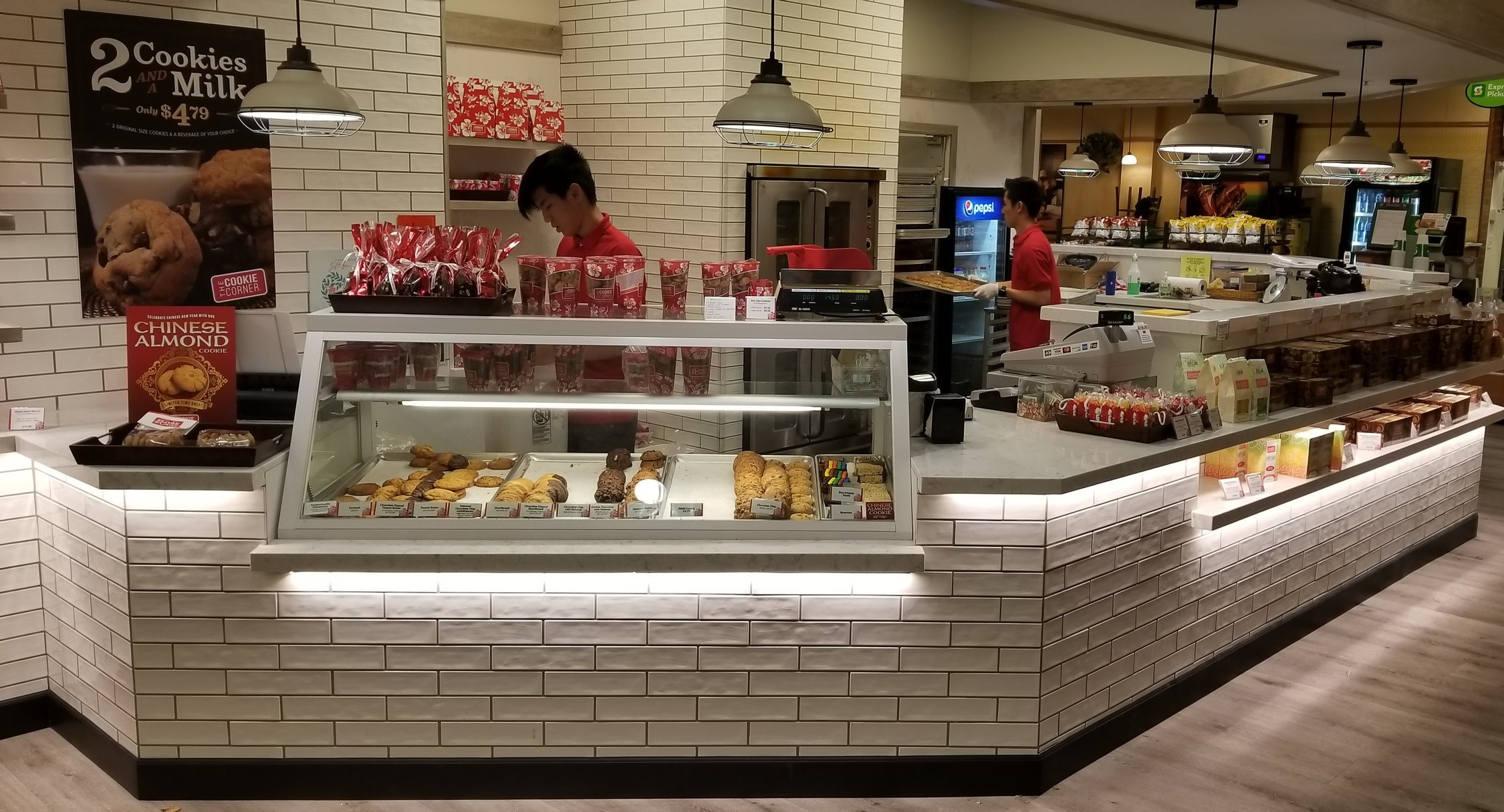 Kahala Mall Cookie Corner - Commercial high-traffic counter tops with under lighting.