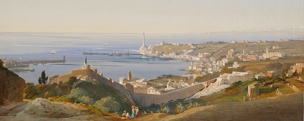1850-53ish view of the port of genova by ippolito caffi. VENETIAN caffi fought against the austrians in the 1848 'first italian war of independence'. he was taken prisoner, escaped and went into exile, partially in genova. he made a good living painting views as souvenirs for visitors.