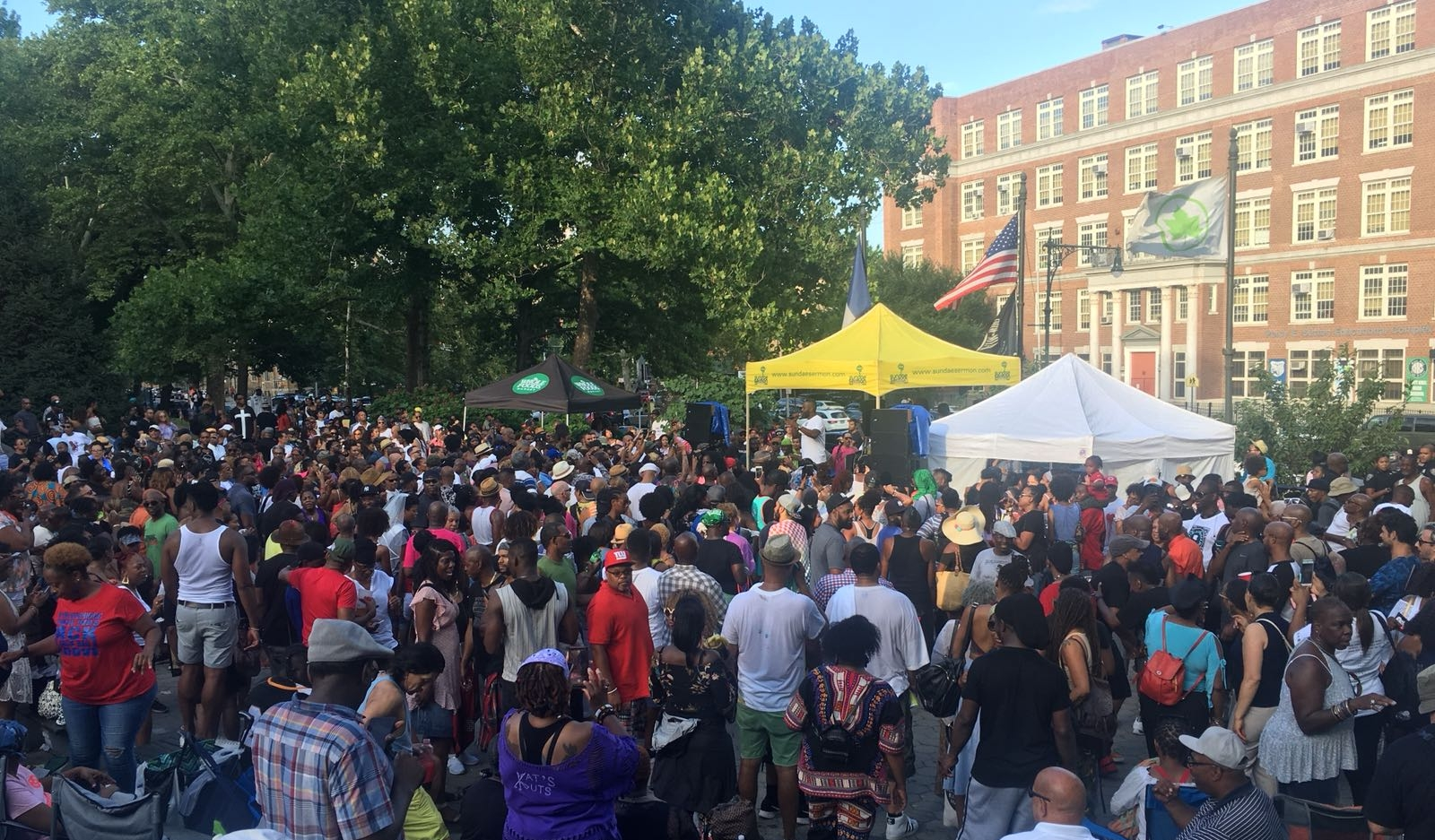 A PARTY AT THE 135TH ST STAGE WHERE JANET JACKSON PERFORMED YESTERDAY