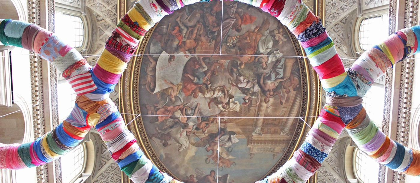 MICHELANGELO PISTOLETTO, 'THIRD PARADISE' MADE OF BOUND RAGS, HANGING ABOVE THE GREAT HALL IN BLENHEIM PALACE