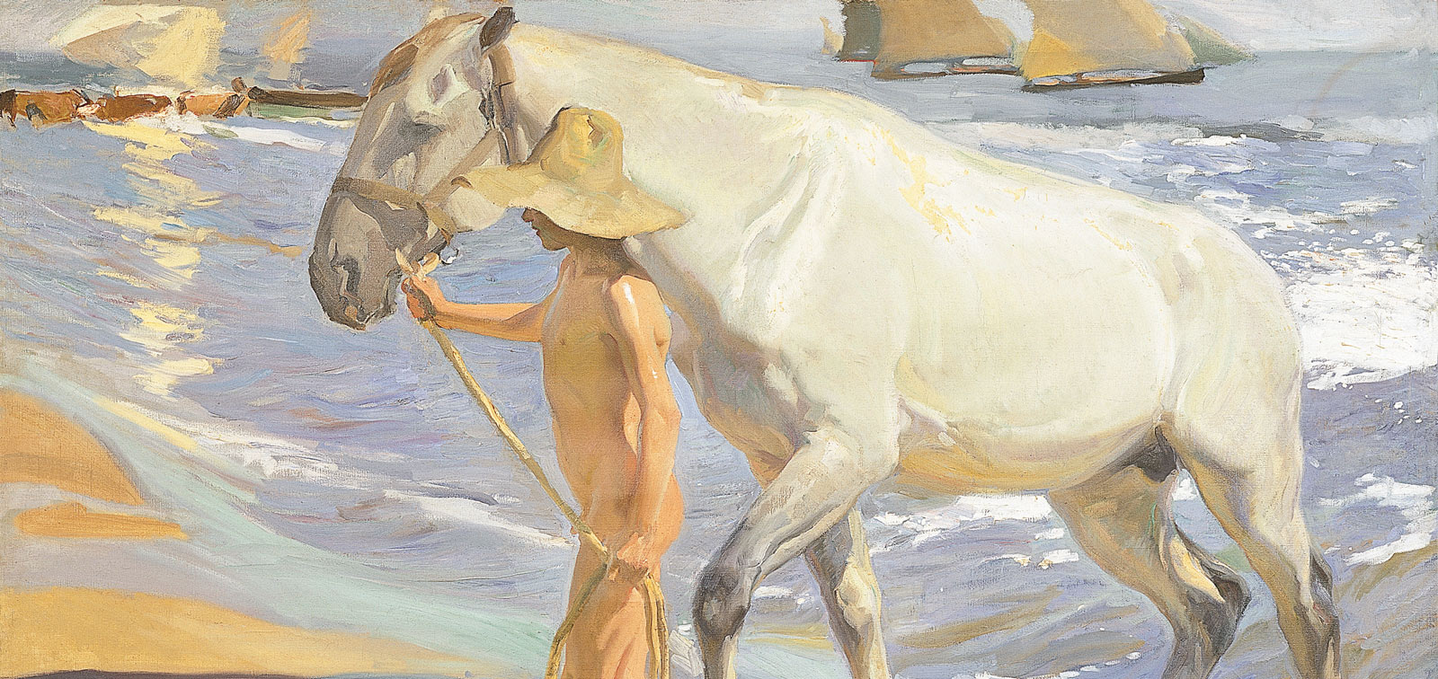 DETAIL OF 'THE HORSE'S BATH' THAT SOROLLA IS PAINTING IN THE PHOTO ABOVE  2 X 2.5 M CANVAS SIZE (MUSEO DEL PRADO)