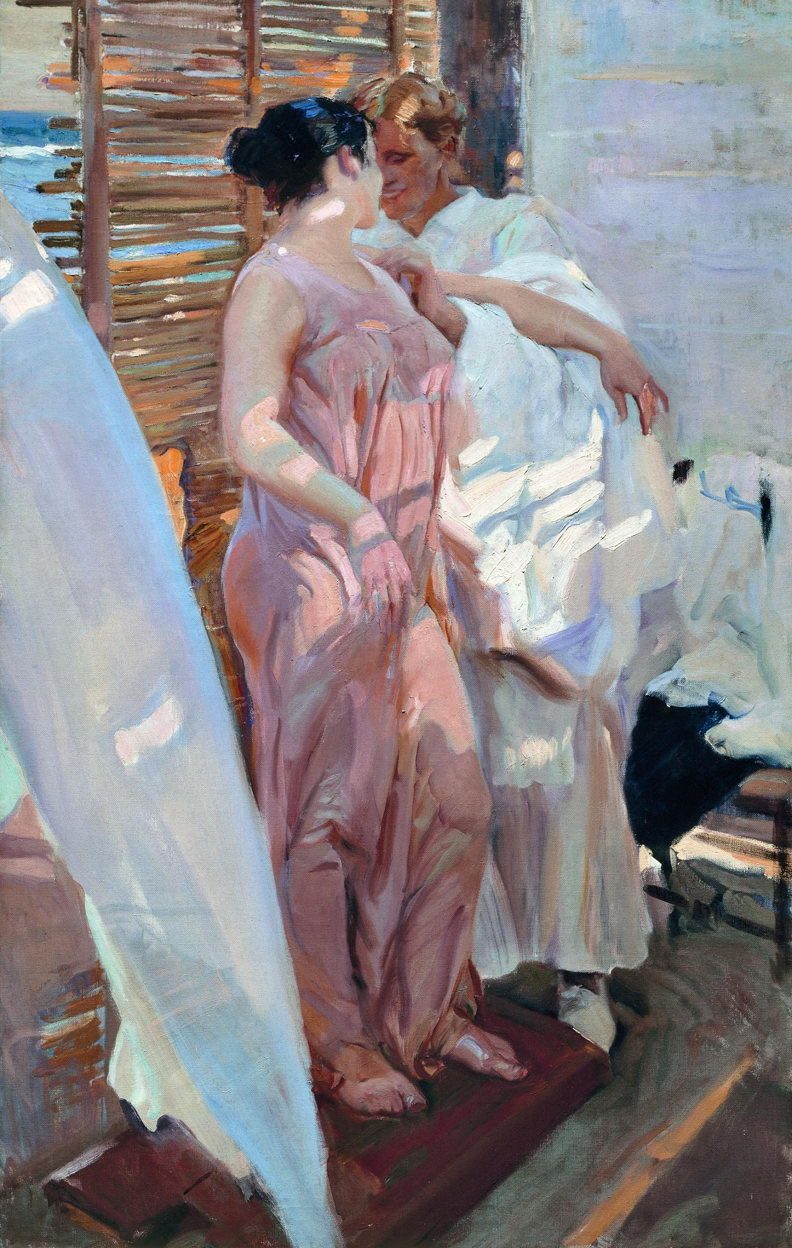 'THE PINK ROBE' 1916 2.08 X 1.26 M. A COUPLE DRESSING IN A BEACH CABIN (MUSEO SOROLLA, MADRID)