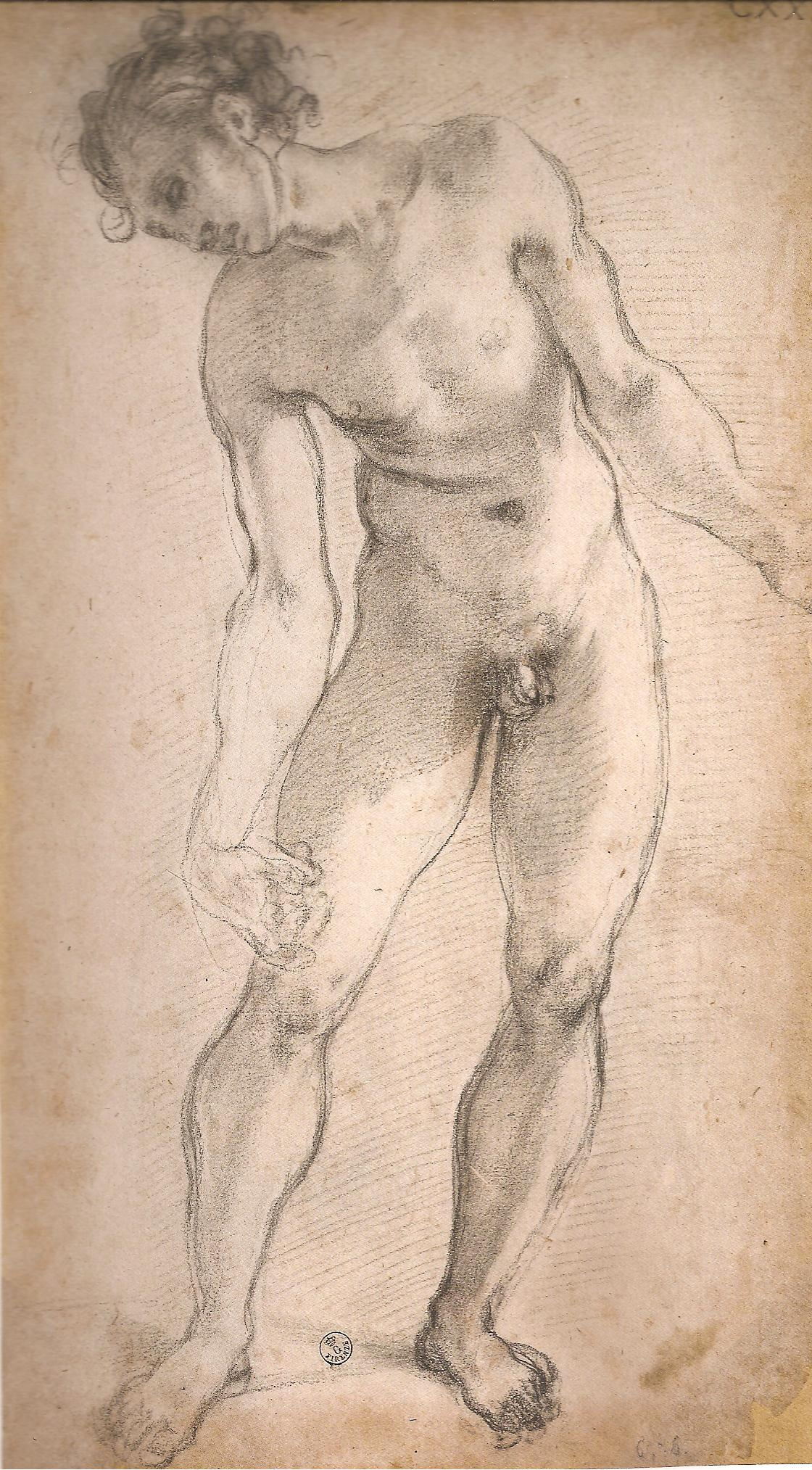 STUDY 1526 FOR A FIGURE IN 'THE DEPOSITION FROM THE CROSS' IN THE CAPPONI CHAPEL, FLORENCE. THE LOOSE LINES EMBODY EMOTION. DRAWN WHEN THE ARTIST WAS 32. CHARCOAL ON PAPER (DRAWING IN GALERIA DEGLI UFFIZI, FLORENCE)