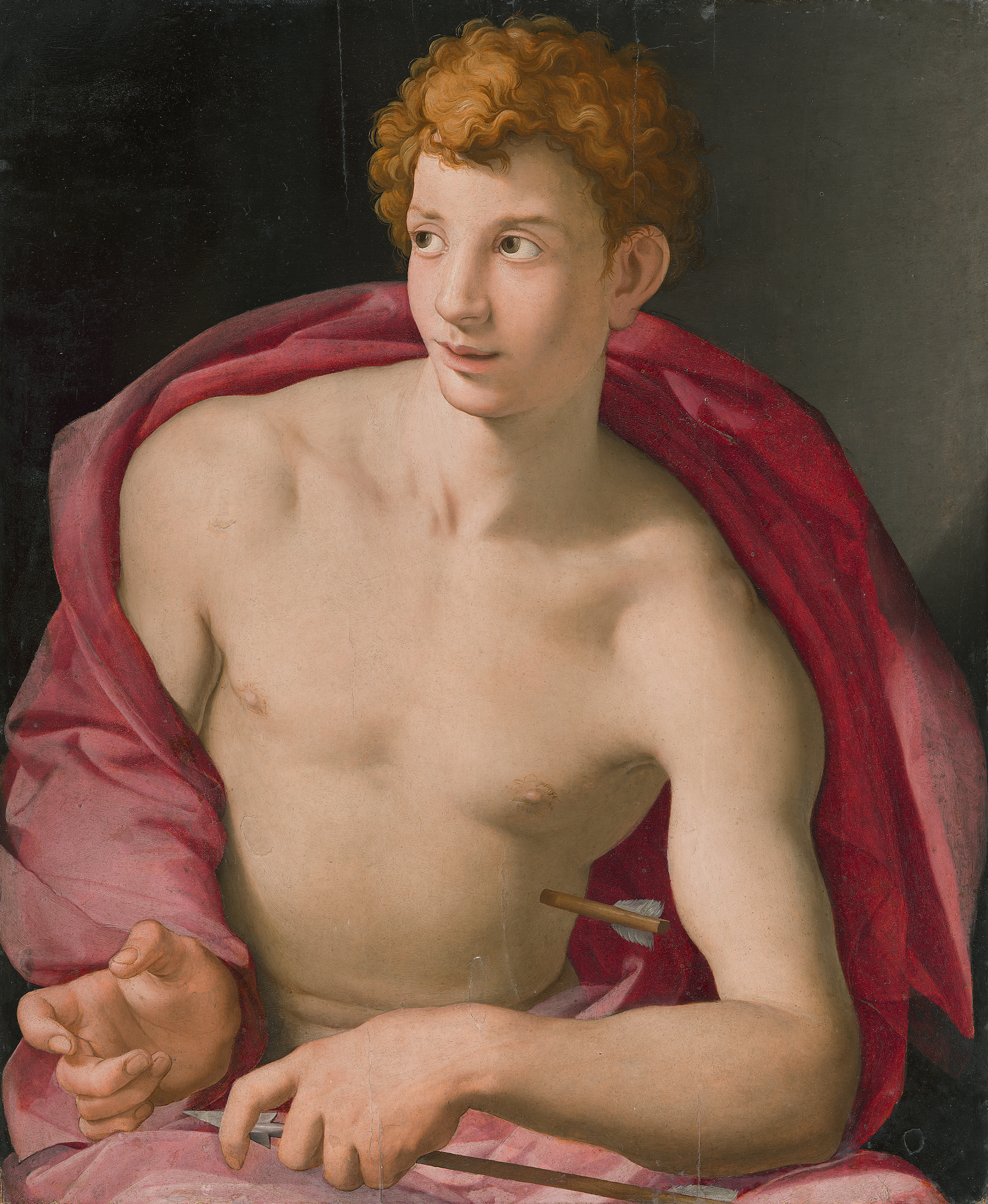 BRONZINO'S PORTRAIT OF A YOUTH AS ST SEBASTIAN. 87X76.5 CM, OIL ON LIME-WOOD PANEL, PAINTED IN 1533 WHEN THE ARTIST WAS 29. (FROM MUSEO THYSSEN-BORNEMISZA, MADRID)