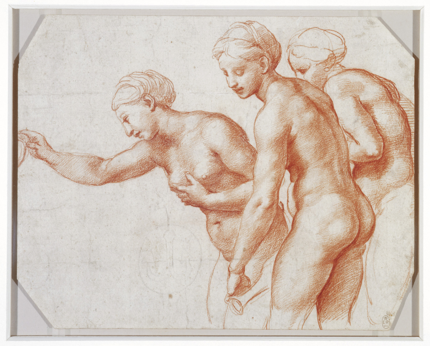THE SAME PERSON DRAWN 3 TIMES IN RAPHAEL'S DRAWING OF THE 3 GRACES FOR THE CEILING OF THE LOGGIA OF THE VILLA FARNESINA IN ROME. THIS IS BY THE YOUNG MASTER AGED 34 IN 1517, THE CEILING FRESCO IN THE VILLA WAS THEN EXECUTED BY HIS PUPILS. 20X26 CM, RED CHALK ON PAPER (DRAWING IN COLLECTION OF H. M. THE QUEEN)