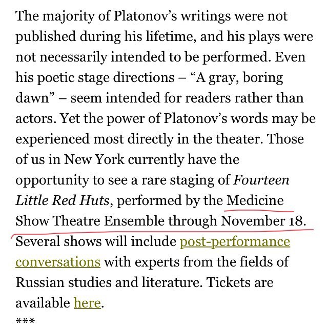 Check out this mention of our production of 14 Little Red Huts on the Columbia University Press blog! Thanks @columbia ! . . . #theatre #nyc #nyctheatre #experimentaltheatre #medicineshow #medicineshowtheatre #fourteenlittleredhuts #russian #russiantheatre #andreiplatonov #bolshevik #bolshevikrevolution #bolshevikrevolution100 #bolshevikrevolution1917 #columbia #columbiauniversity #columbiauniversitypress #universitypress