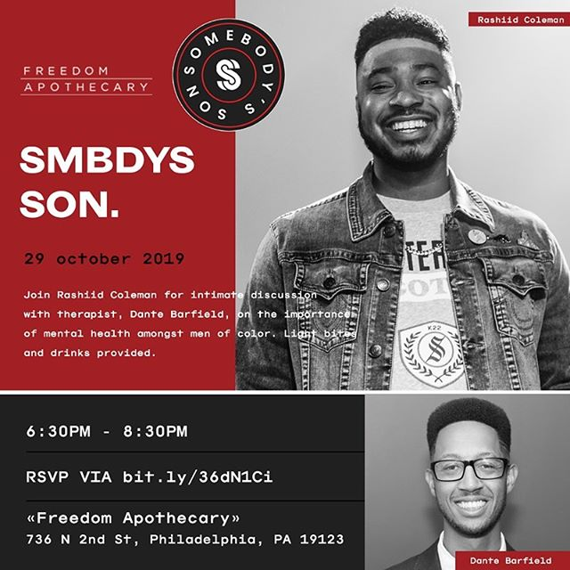 {CLIENT WORK} Join @rashiid.marcell with licensed therapist, Dante Barfield for an intimate discussion on the importance of mental health awareness among Black men at @freedom.apothecary this Tuesday 10/29!