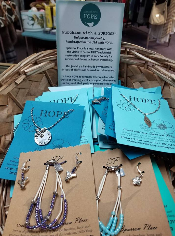 Created With Hope - Even MORE to 'Purchase with a PURPOSE'! Have we mentioned how much we LOVE Individual Fundraising?!? 💕Volunteers used their skills to create FUN & unique artisan jewelry and offered it for sale at The Top Drawer Consignment Shop! 100% of profits will be used by Sparrow Place toward the purchase or re-purposing of a donated house for survivors of domestic sex trafficking.