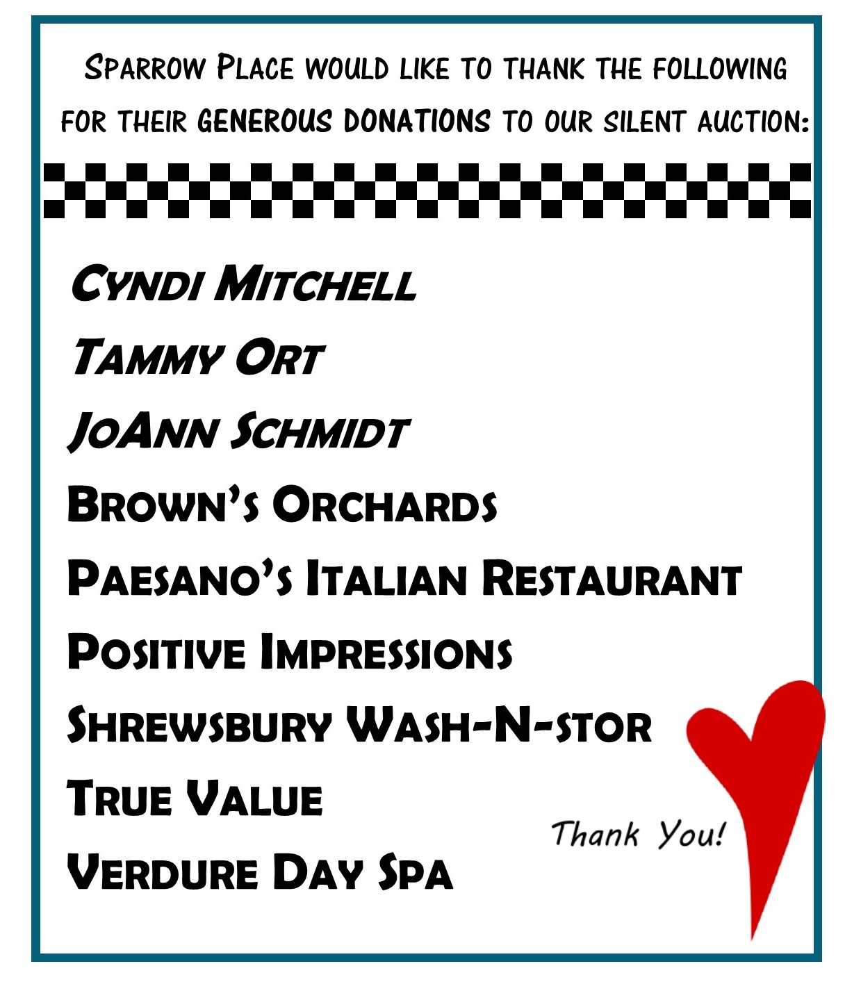 2018 Spaghetti Dinner & Silent Auction - Donors -