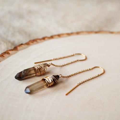 alma collection  smoky quartz threader earrings