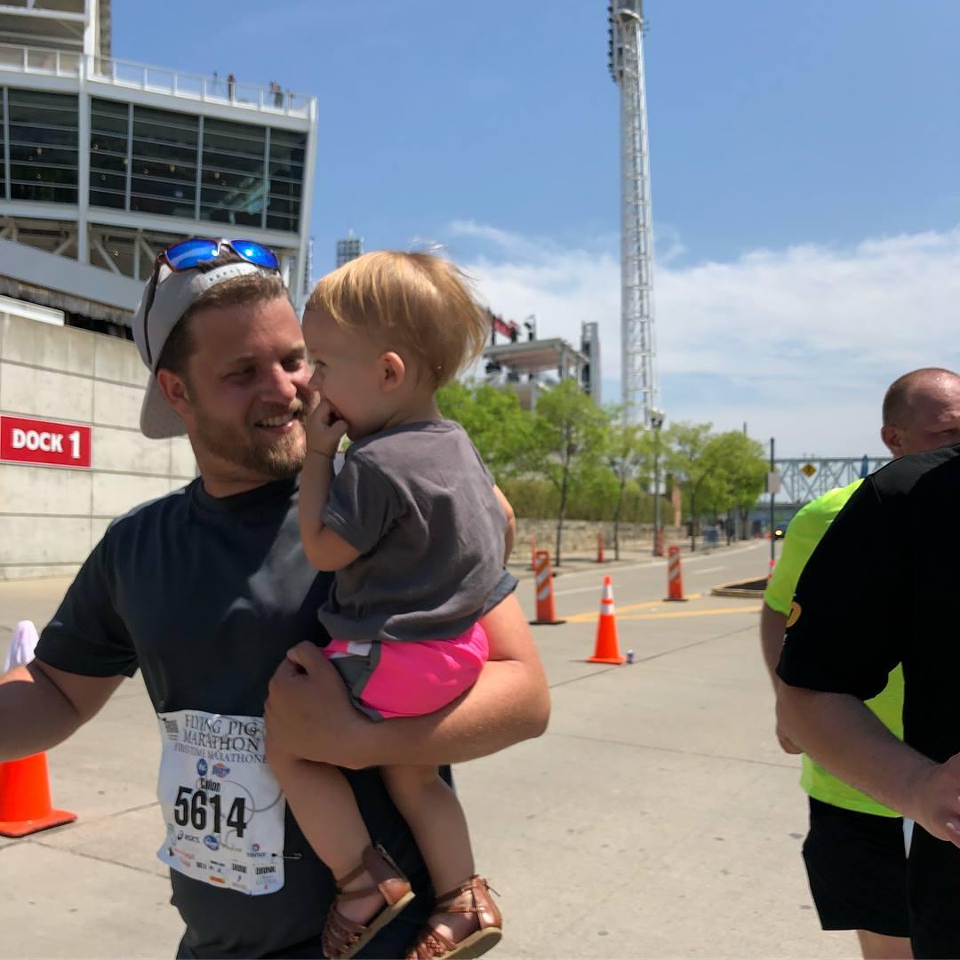 A dad running a marathon