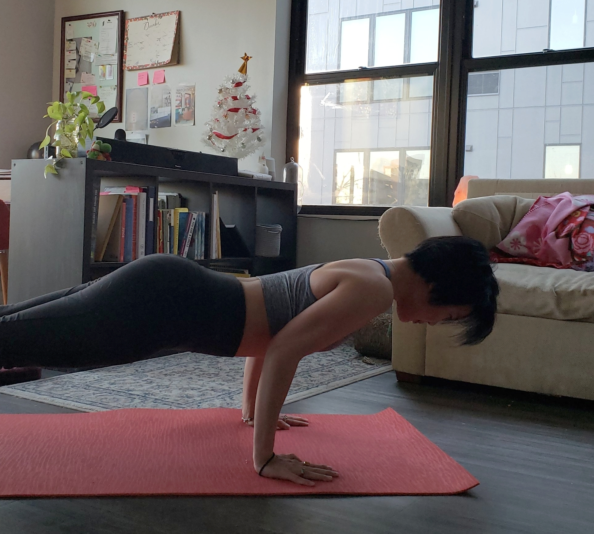 When doing a chaturanga, hug your elbows close to your side body.