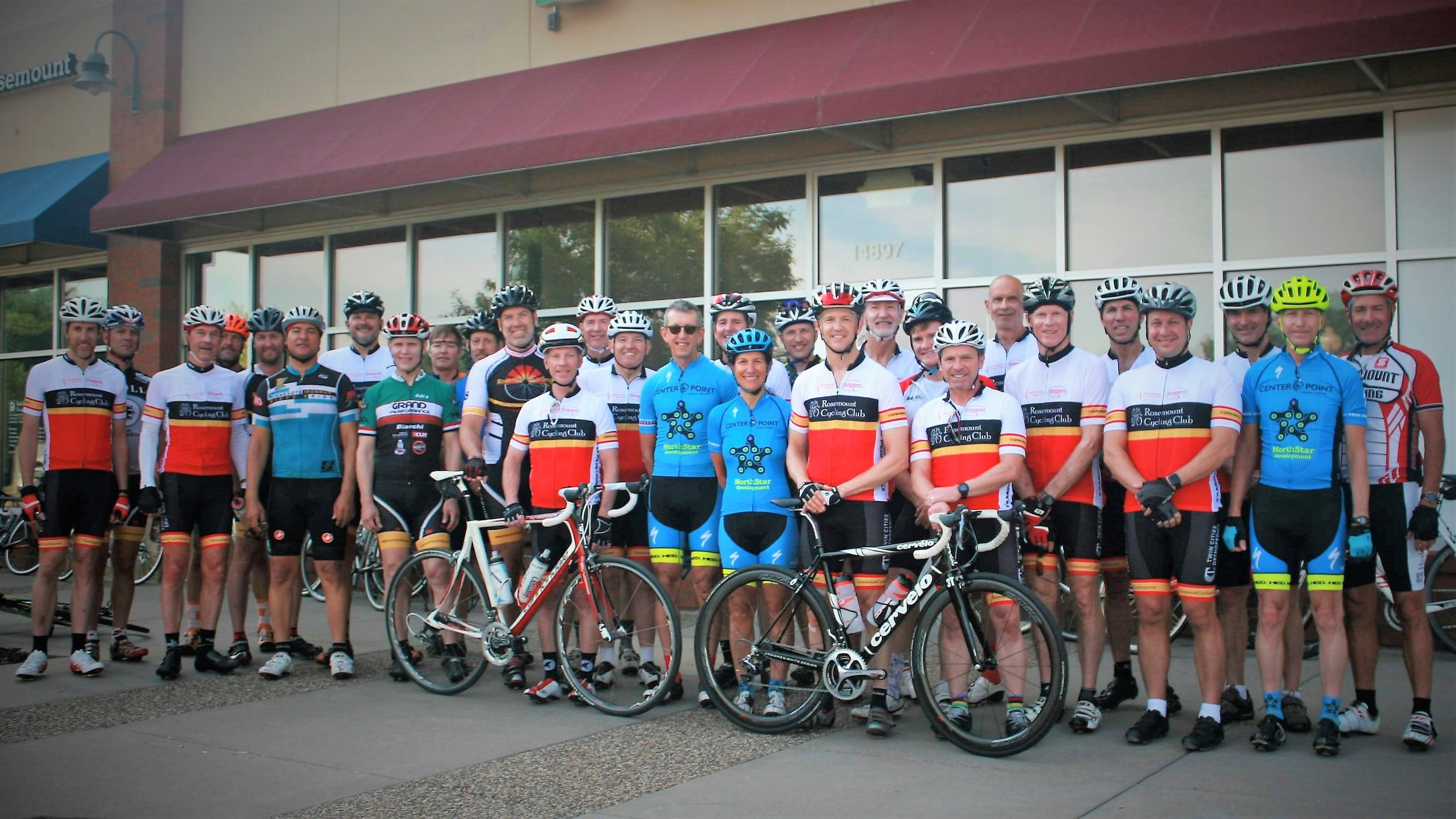 2018 - Riders gather for a photo before the club ride; 2018-06-23