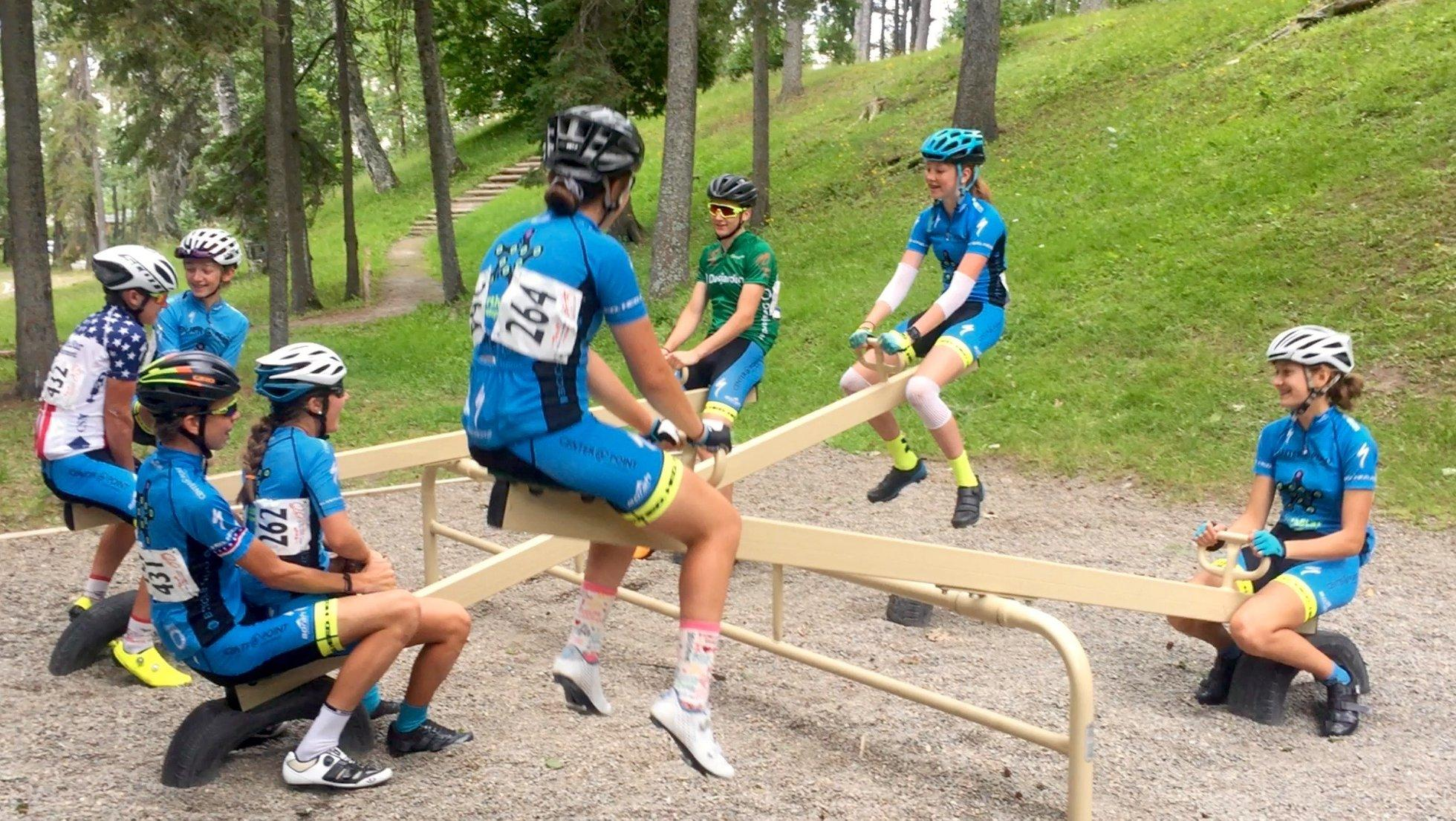 A little bit of team fun after stage 5. (Charlie: Hey. They're still kids!)