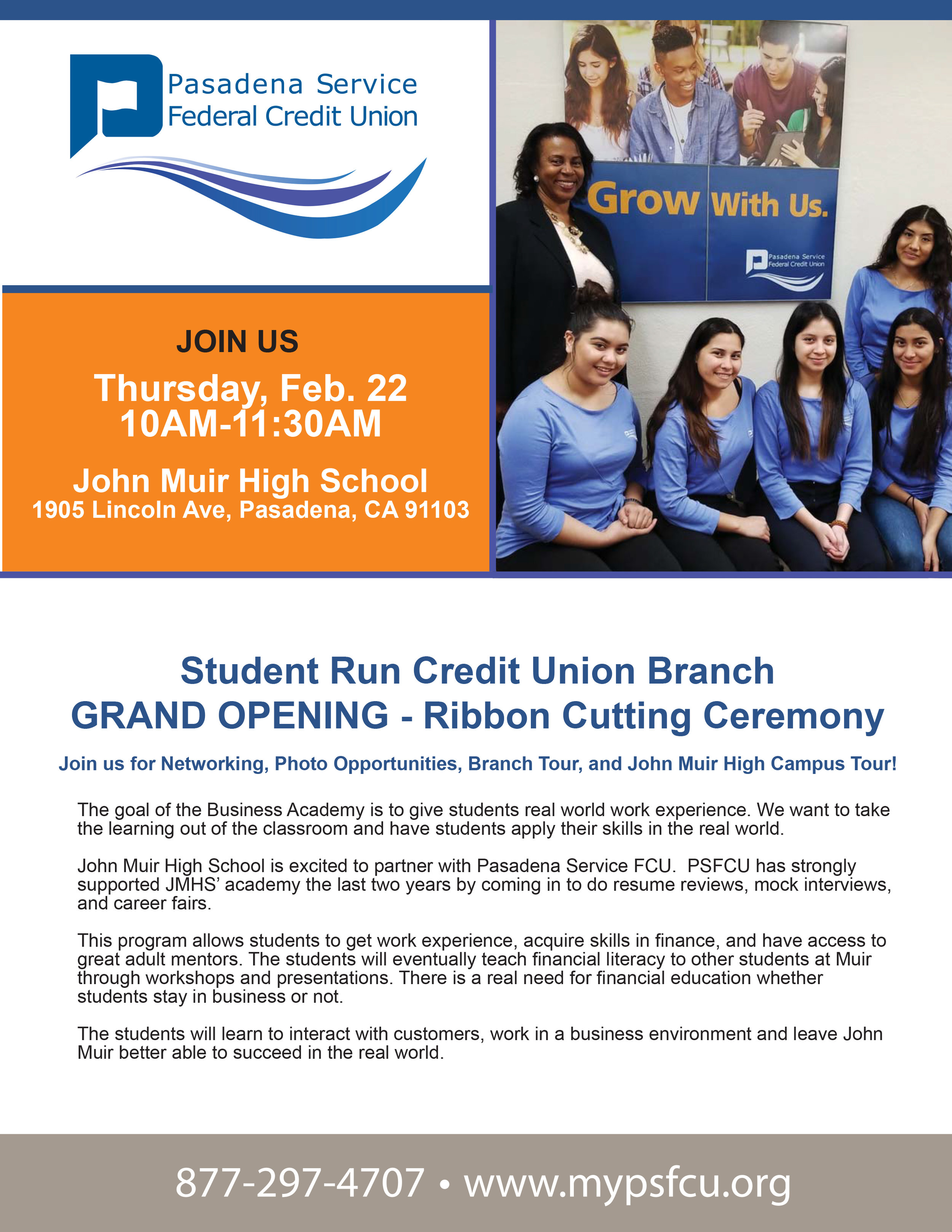 Pasadena Service Federal Credit Union Grand Opening- John Muir High School - February 22nd, 2018