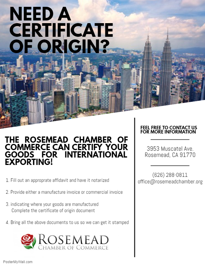 Certificate of Origin Service - Call the Office for info.