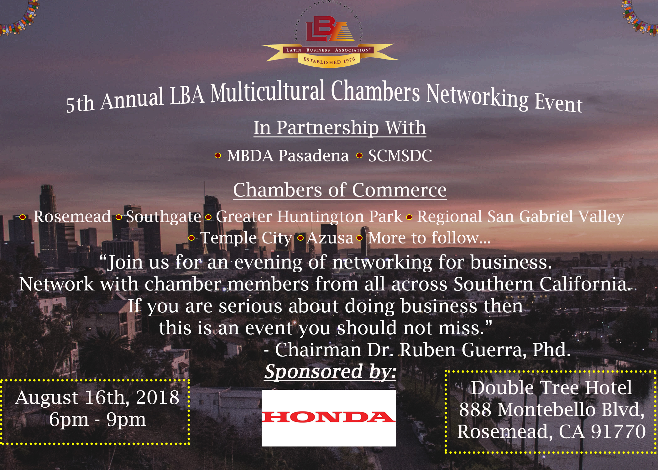 5th annual lba multicultural chambers networking event - August 16th, 2018