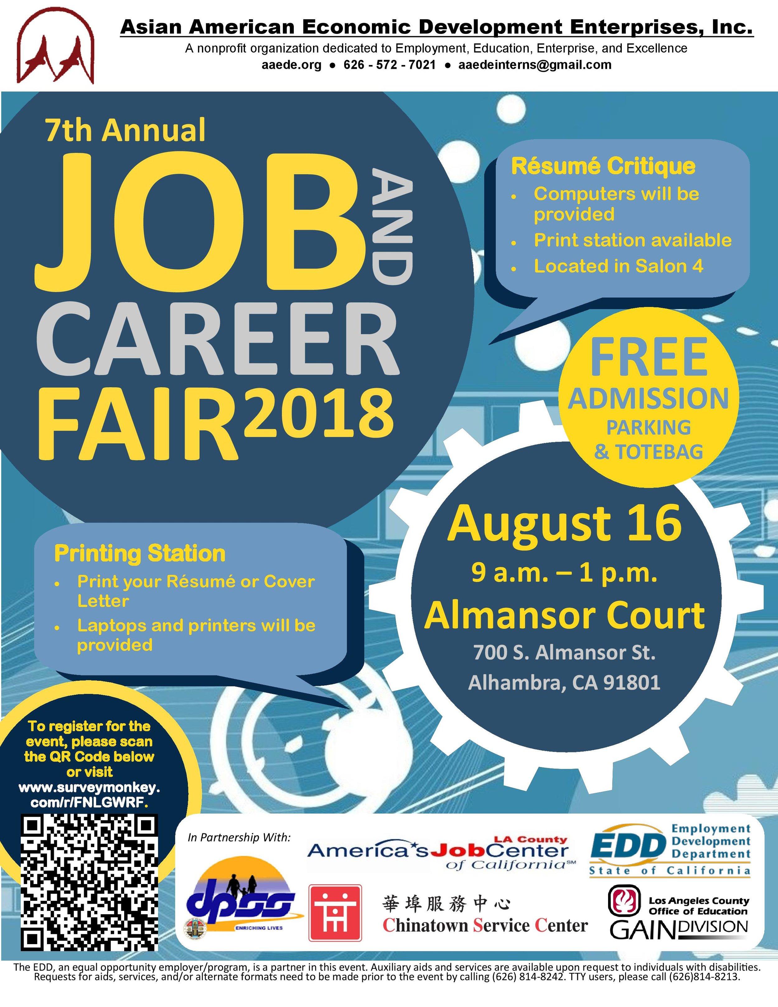 7th annual job and career fair 2018 - August 16th, 2018