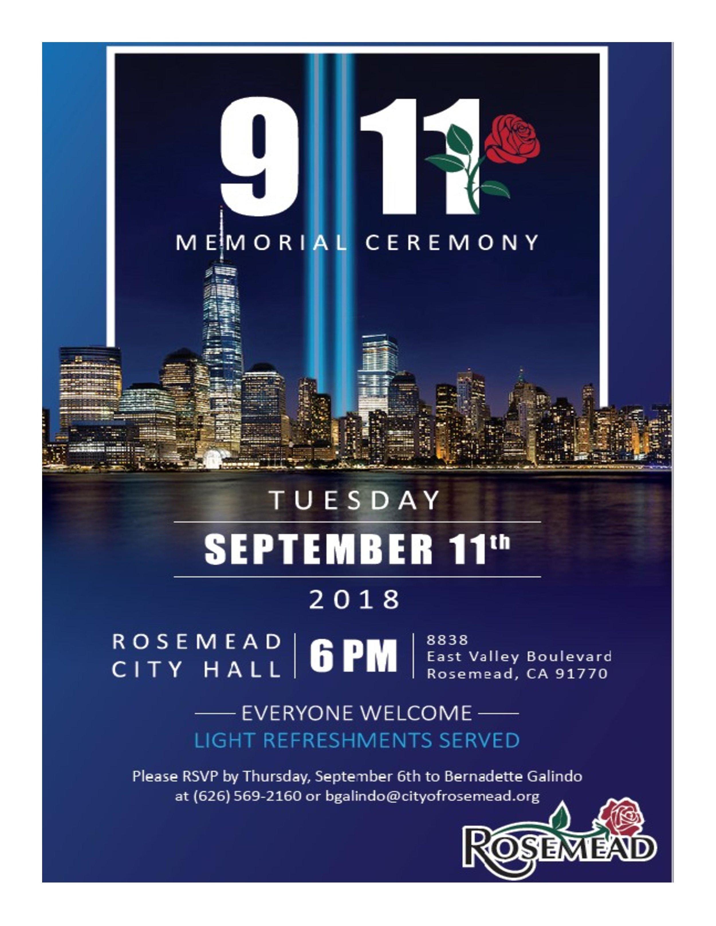 911 Memorial Ceremony - September 11th, 2018