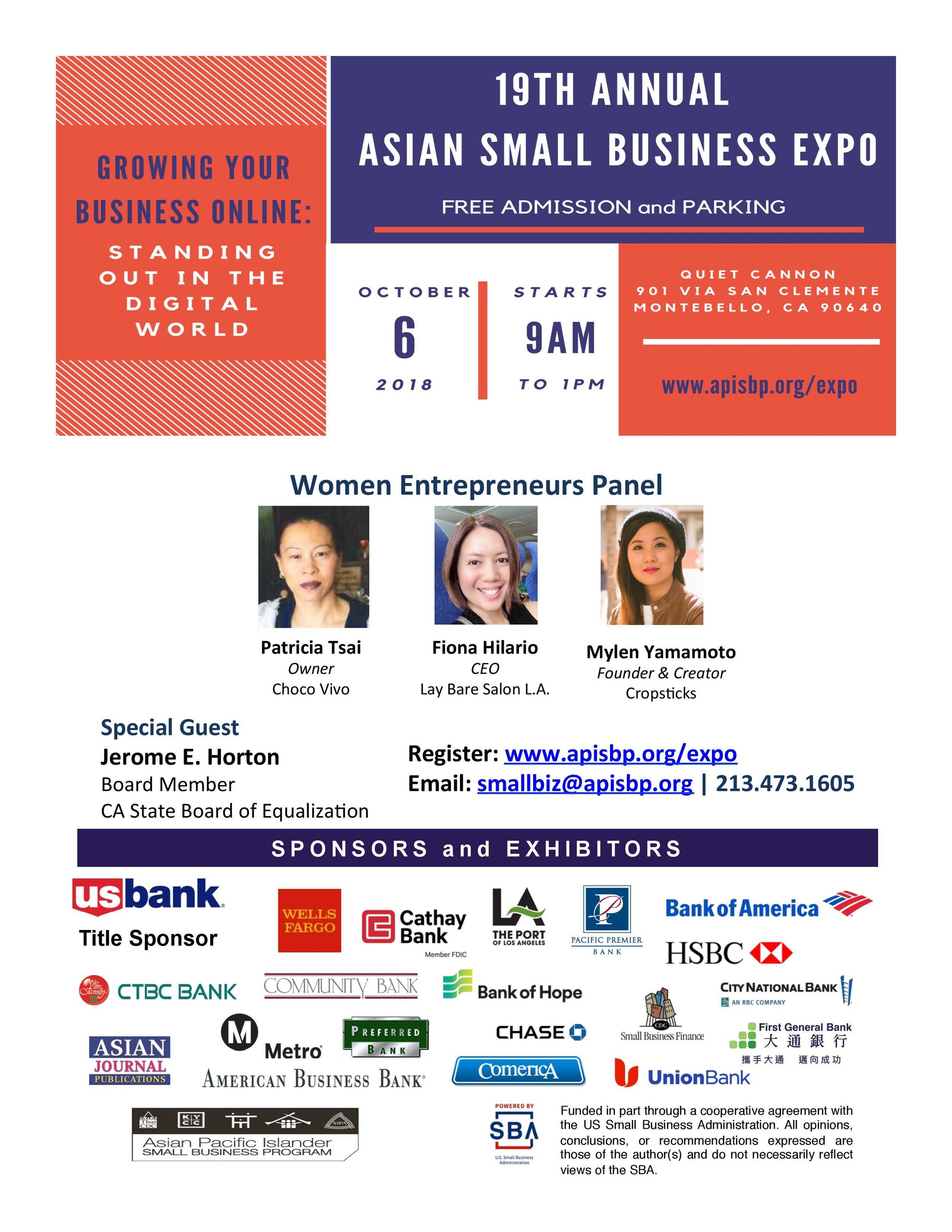 19th Annual asian small business expo - October 6th, 2018