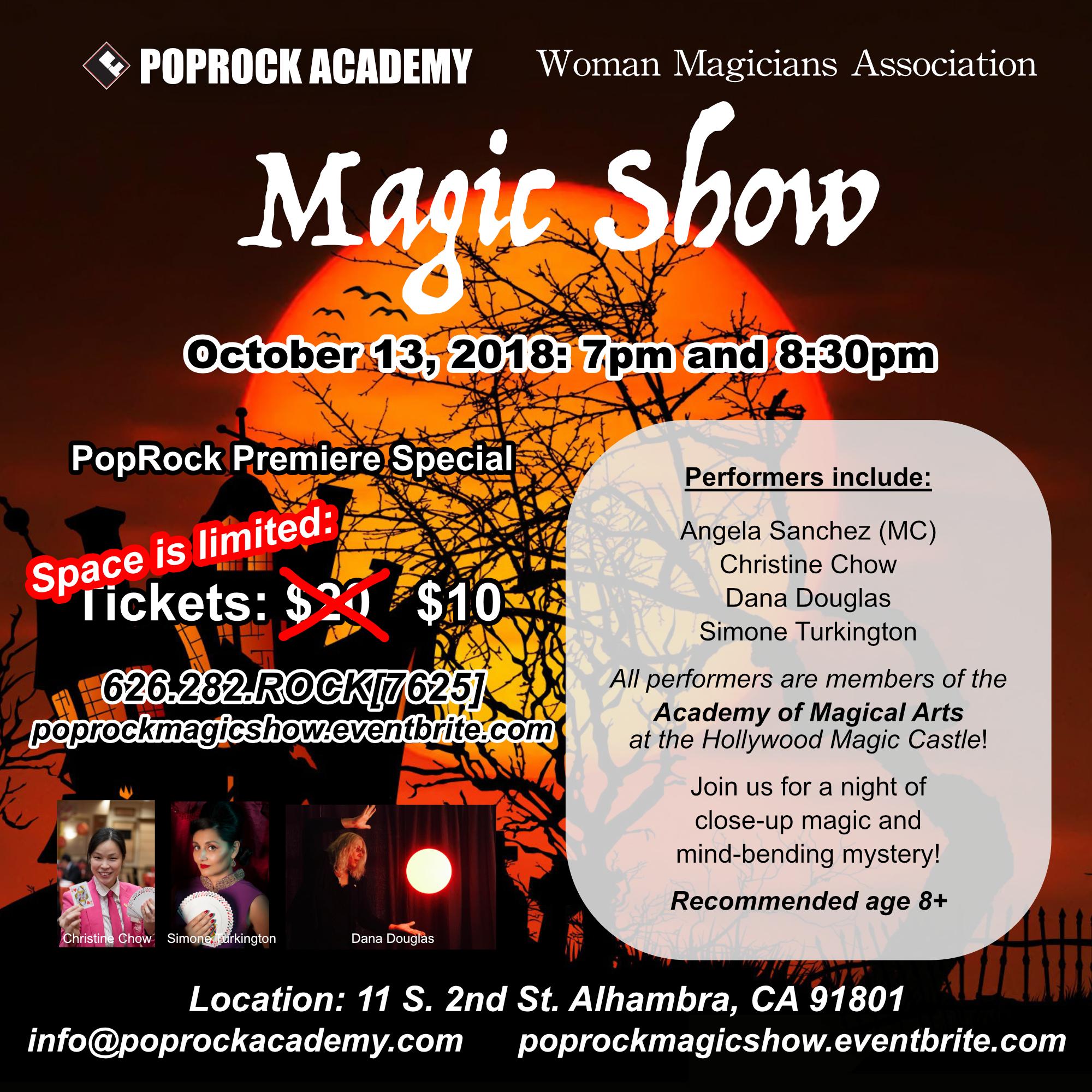 PopRock academy magic show - October 13th, 2018