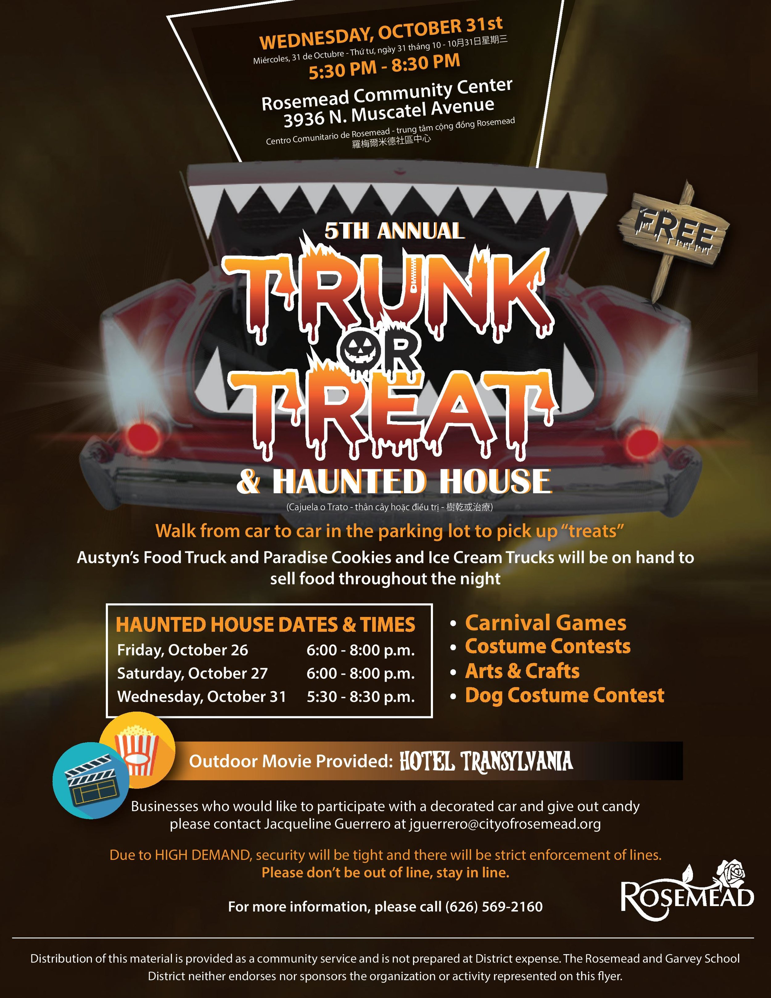 Rosemead's 5th annual trunk or treat & haunted house - October 31st, 2018