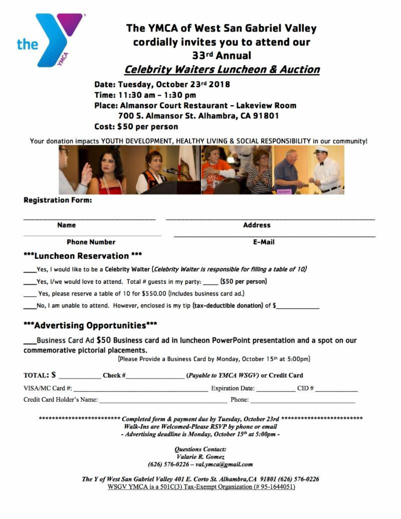 ymca 33rd annual celebrity waiters luncheon & auction - October 23rd, 2018