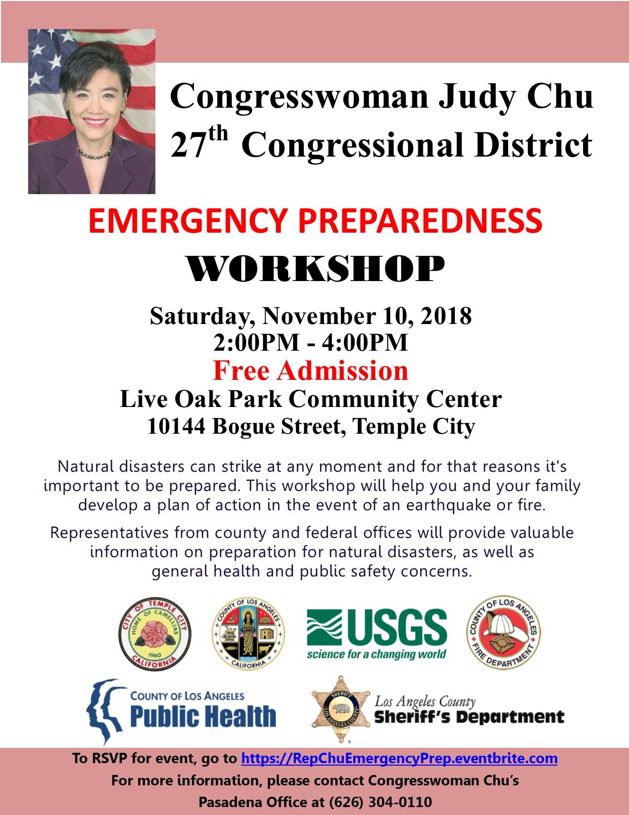 congresswoman judy chu emergency preparedness workshop - Novermber 10th, 2018