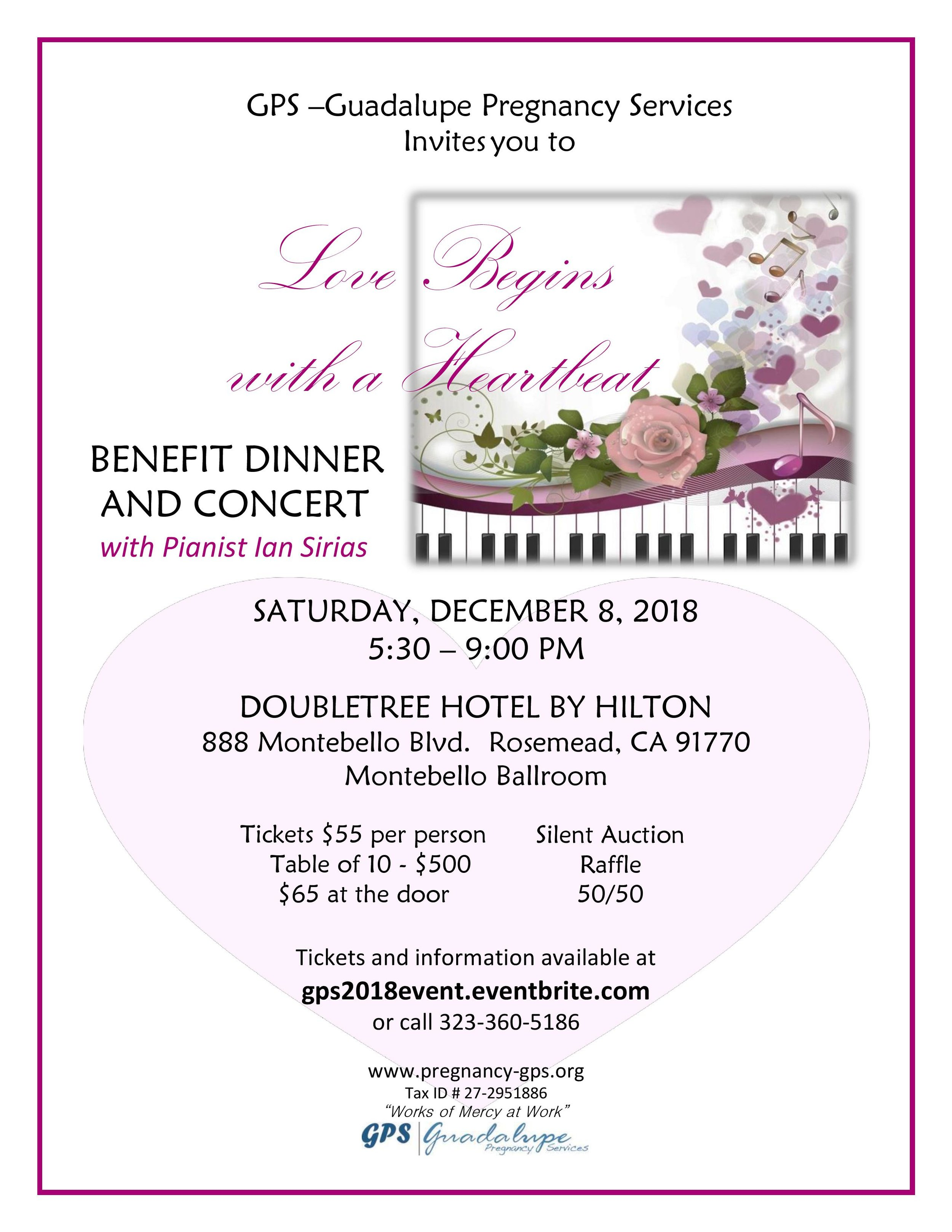 GPS Benefit dinner and concert - December 8th, 2018
