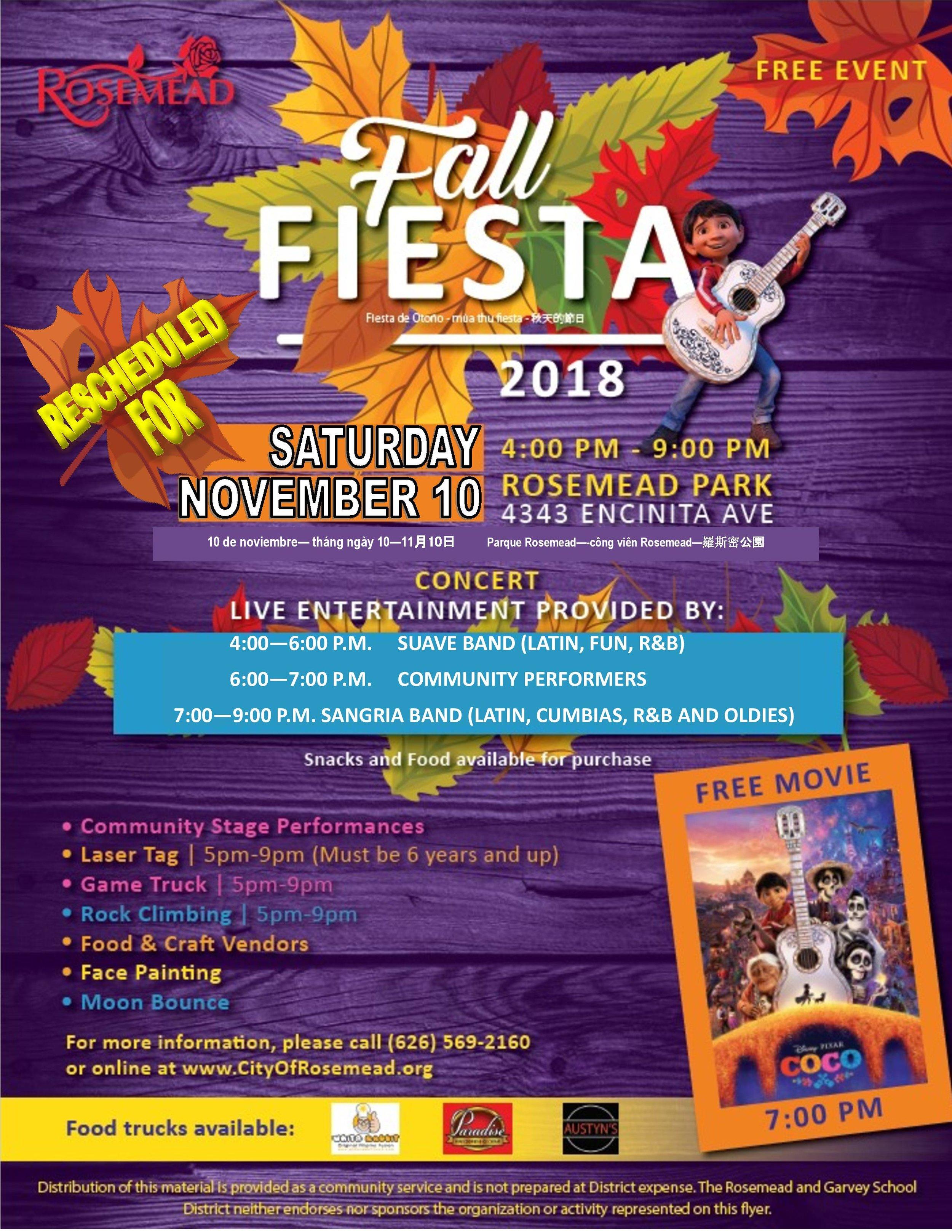 Fall fiesta 2018 - November 10th, 2018