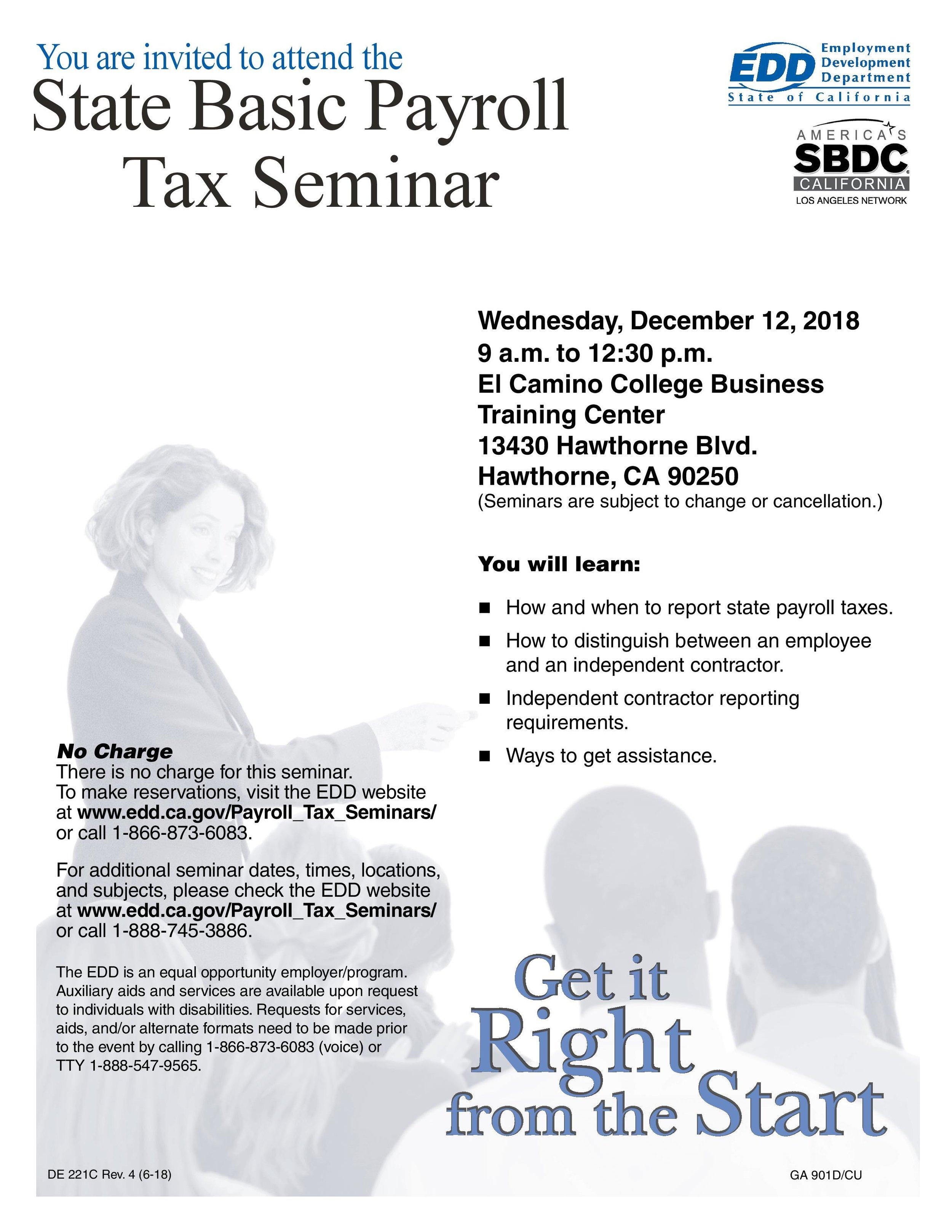 State basic payroll tax seminar - December 12th, 2018