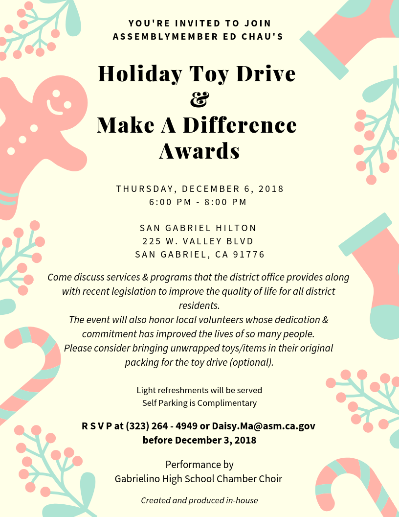holiday toy drive & make a difference awards - December 6th, 2018