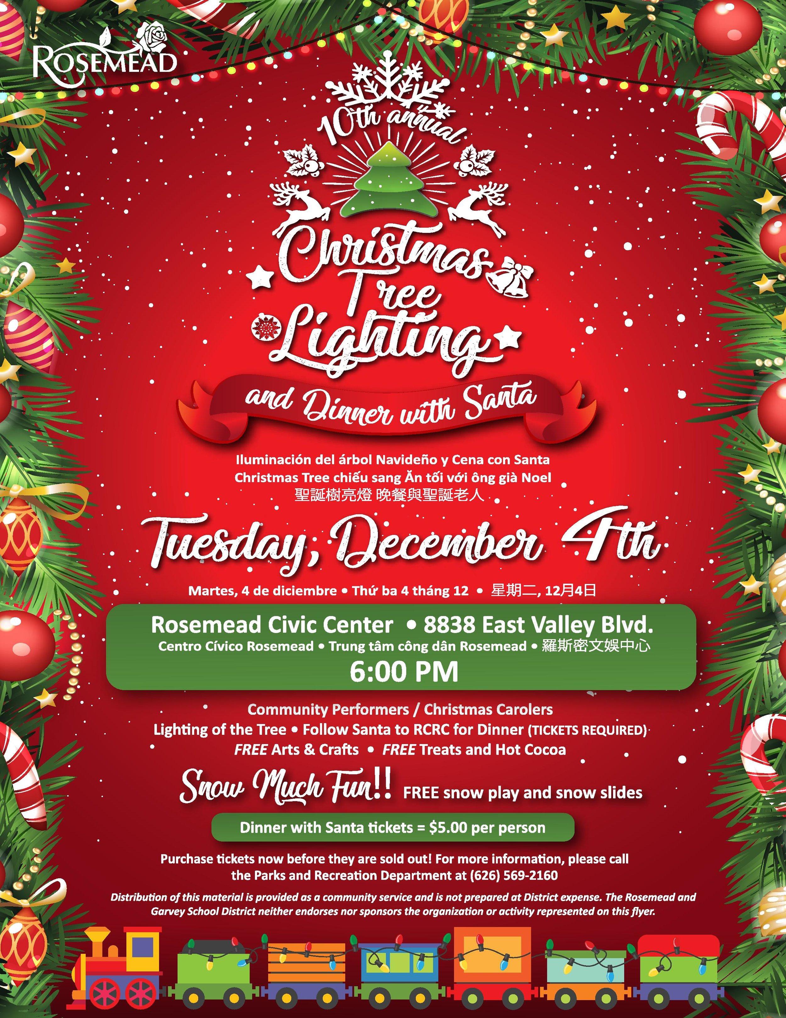 christmas tree lighting and dinner with santa - December 4th, 2018