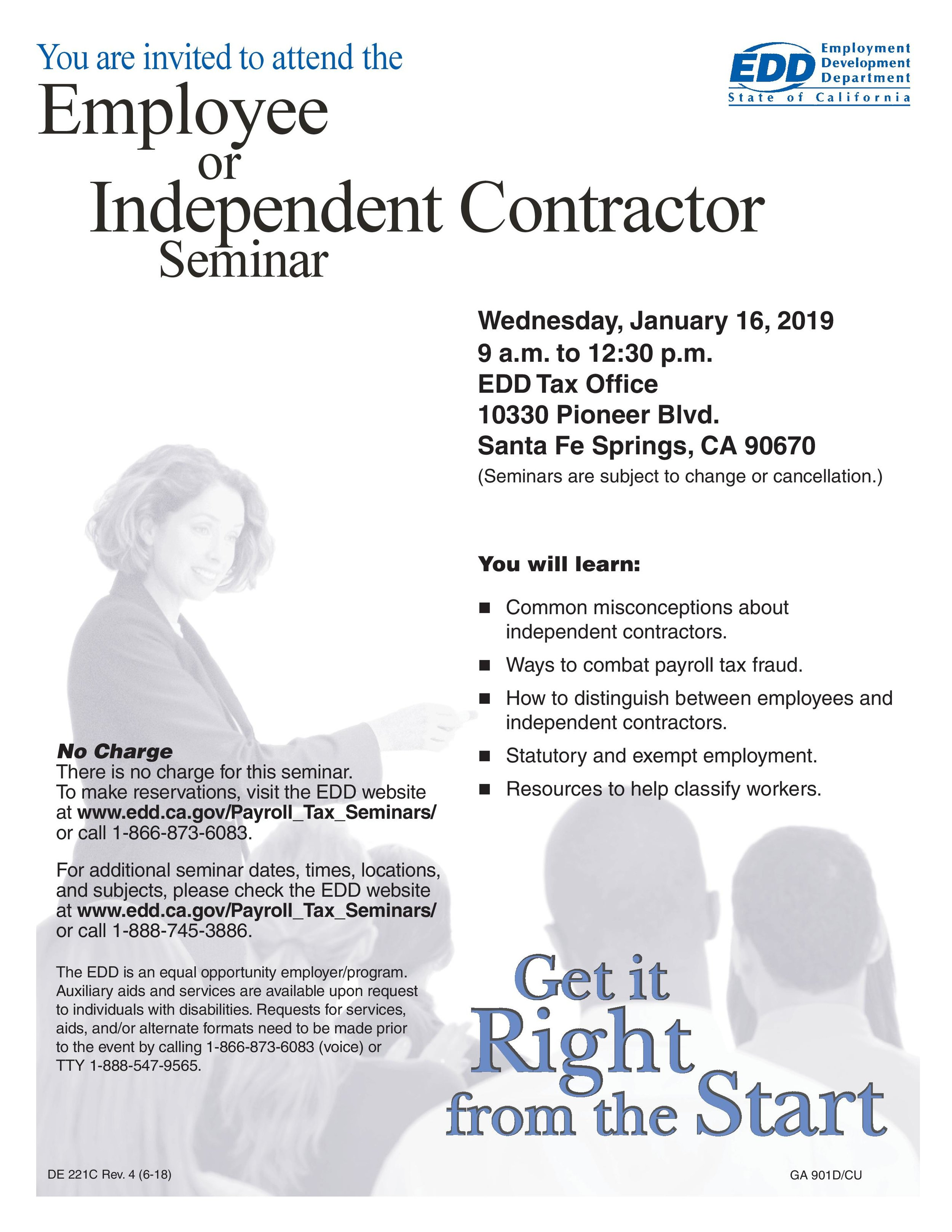 employee or independent contractor seminar - January 16th, 2019