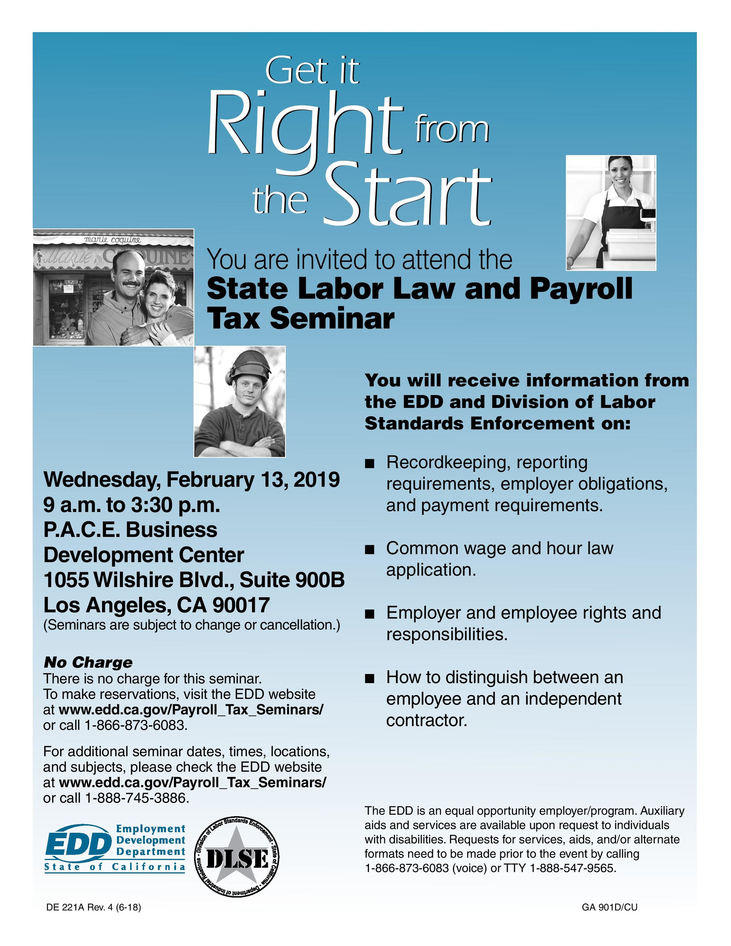 state labor law and payroll tax seminar - February 13th, 2019