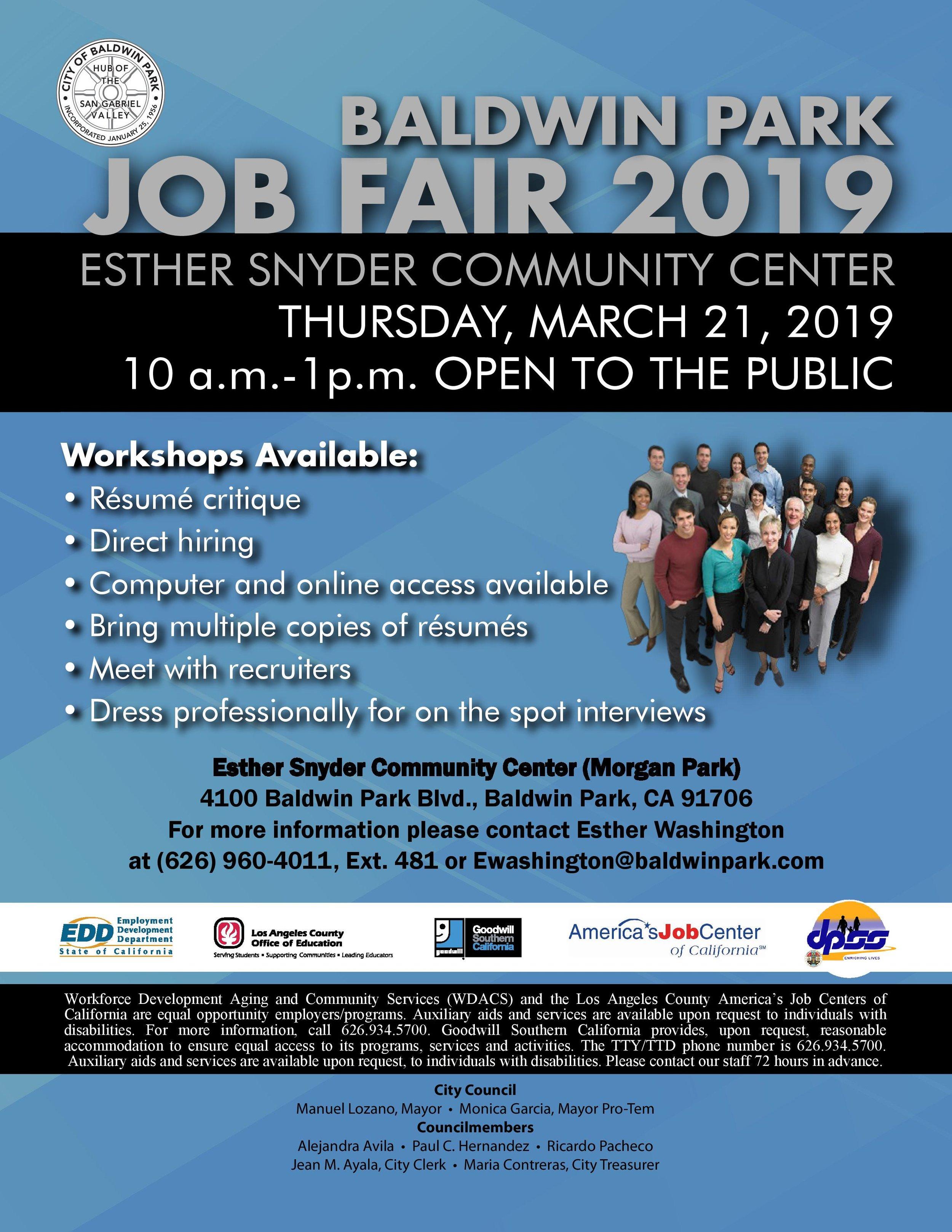 Baldwin park job fair 2019 - March 21st, 2019