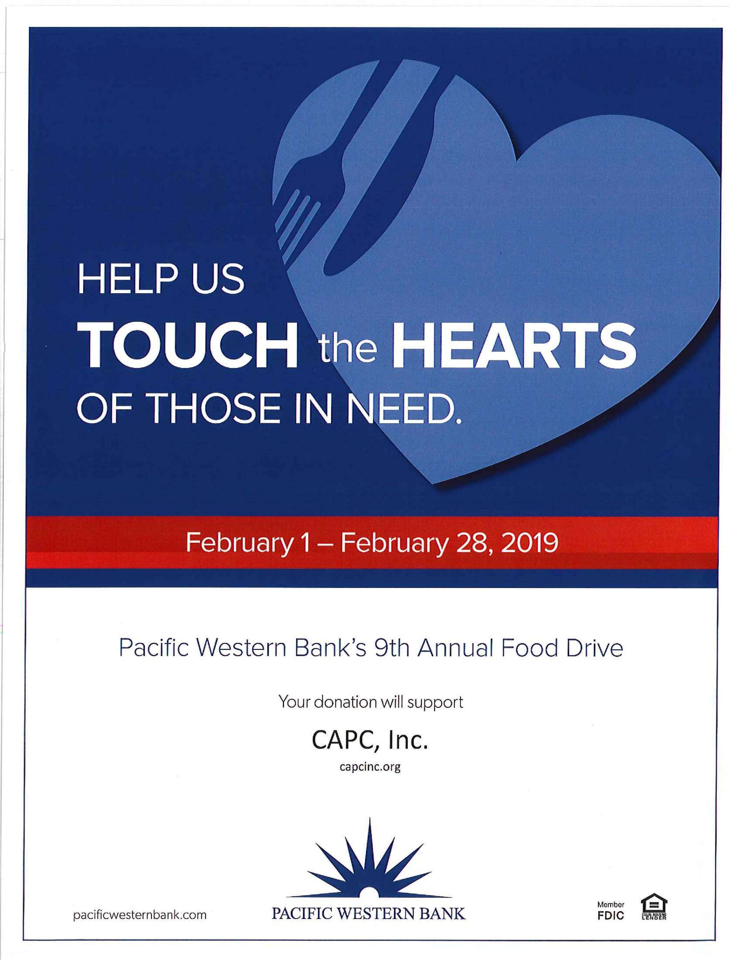 pacific western bank's 9th annual food drive - February 1st-28th, 2019