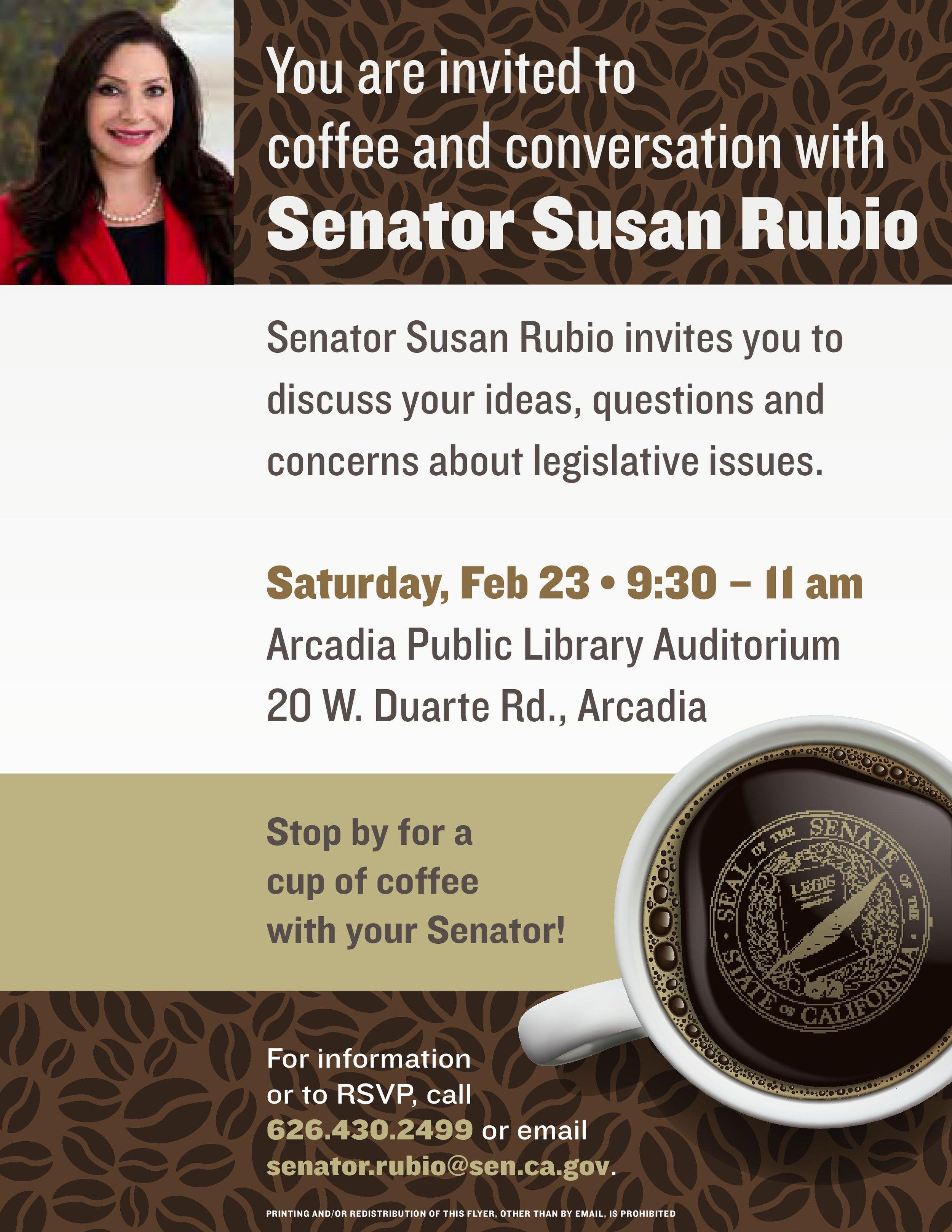 coffee & conversation with senator susan rubio - February 23rd, 2019