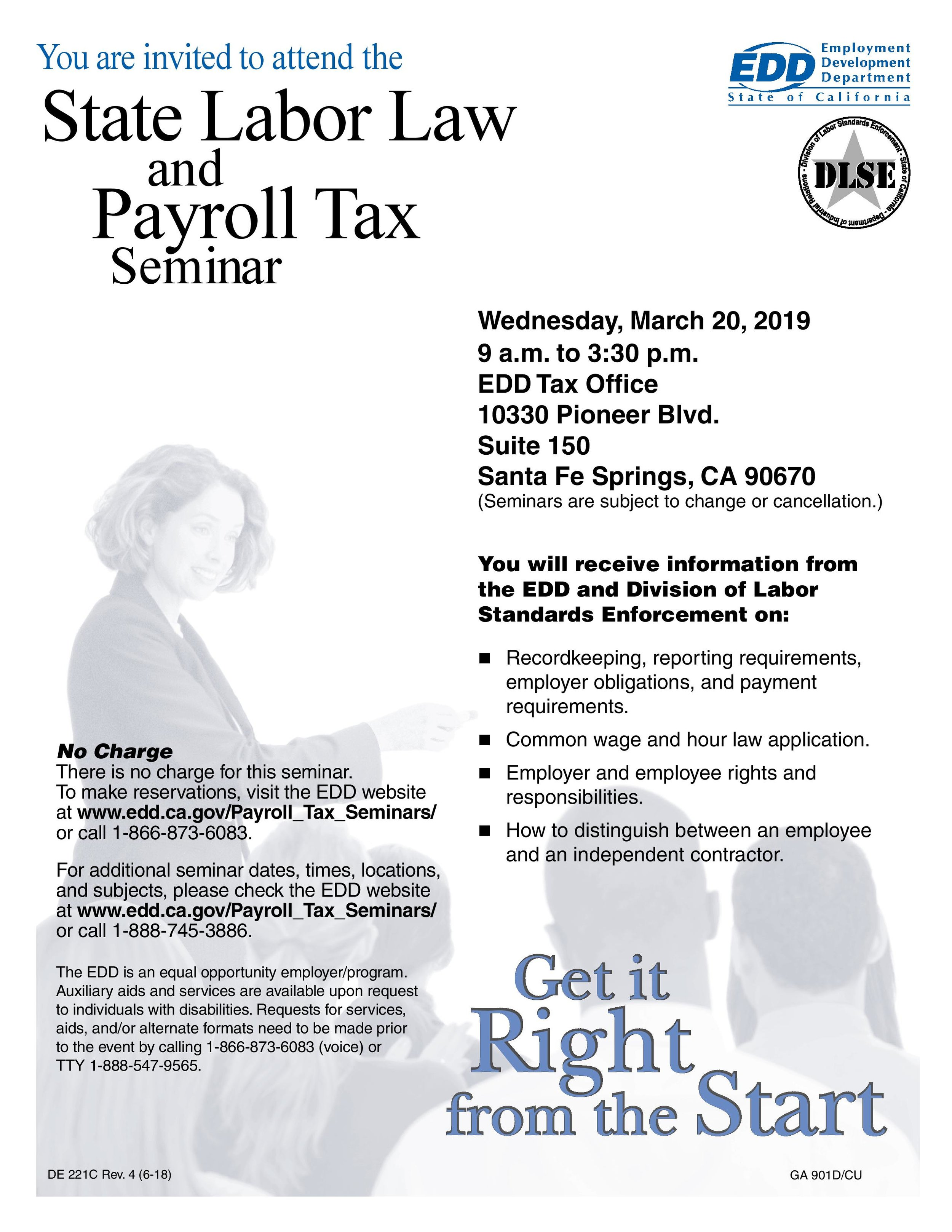 state labor law and payroll tax seminar - March 30th, 2019