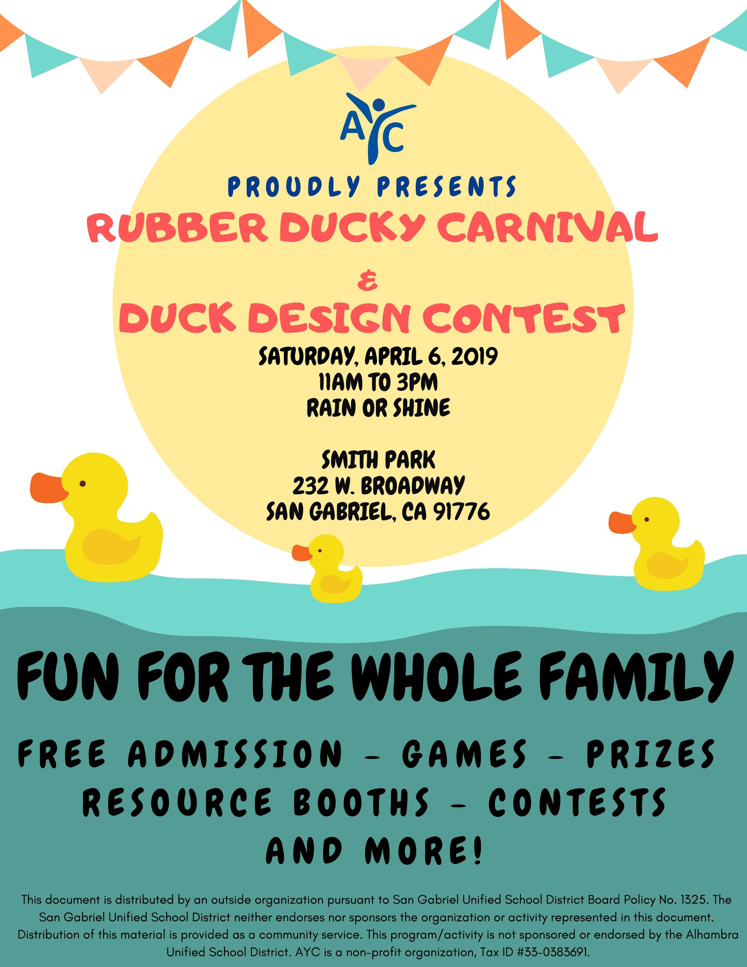 ayc rubber ducky carnival & duck design contest - April 6th, 2019