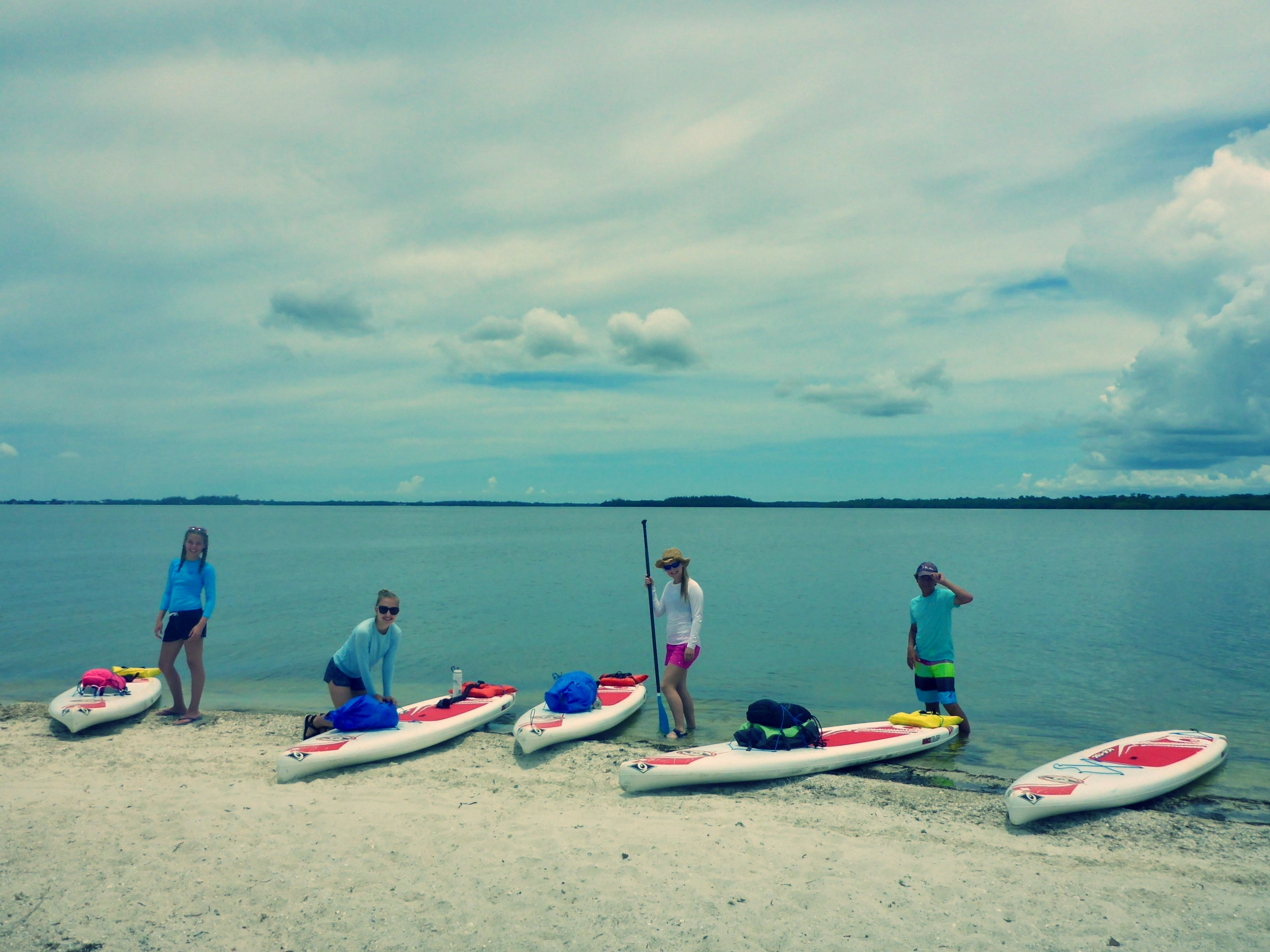 Campers prepared for their epic paddle to Fort Myers Beach.