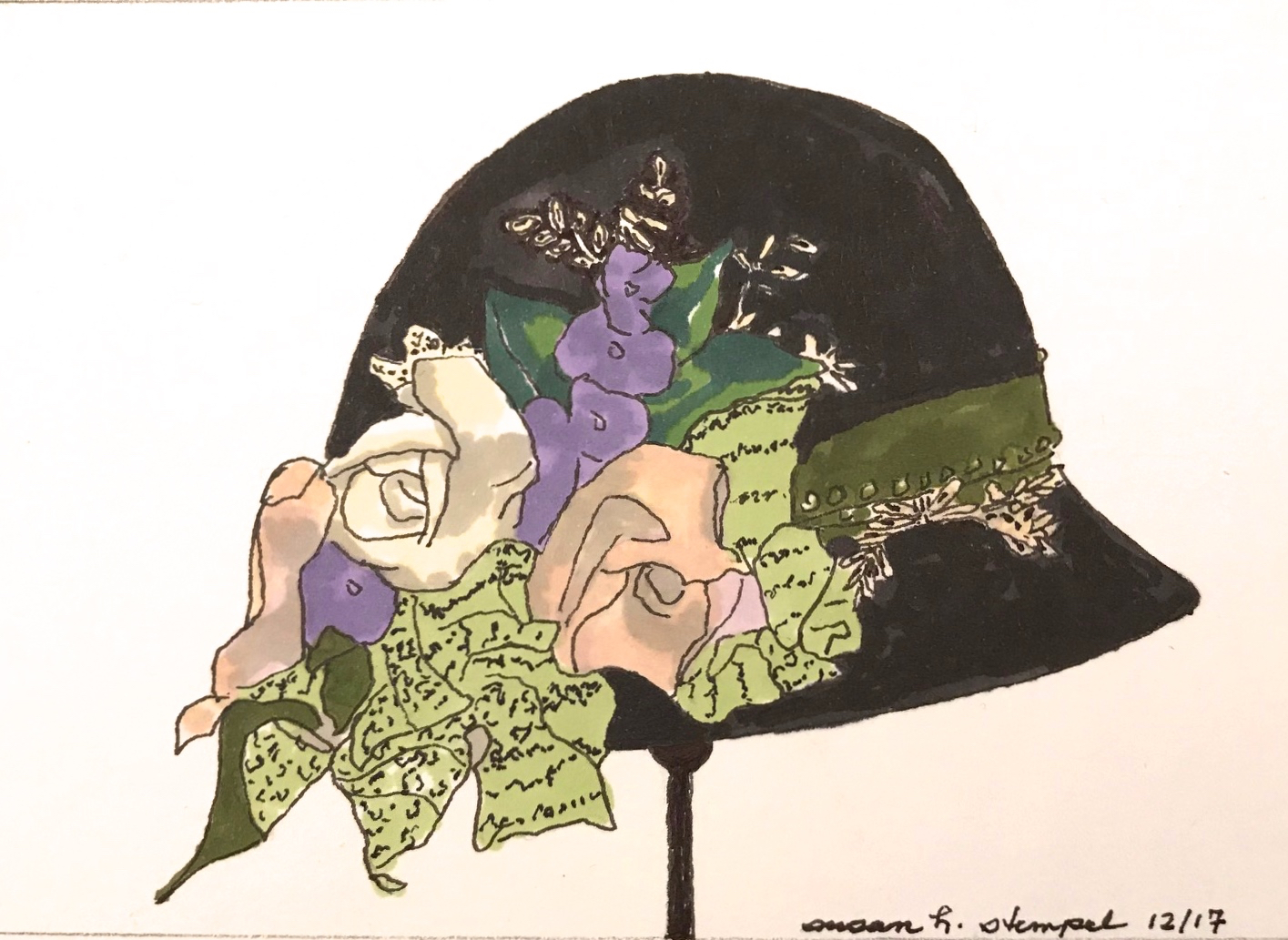 "$300. 5"" x 7"" pen & ink on paper  ""A cloche"""