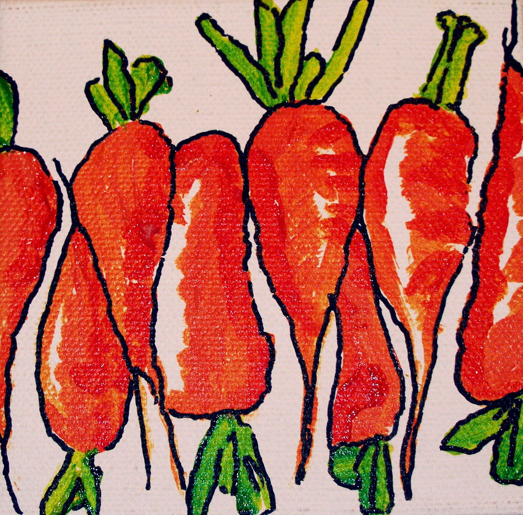 "SOLD 4"" x 4"" acrylic on canvas  ""Fat Carrots"""