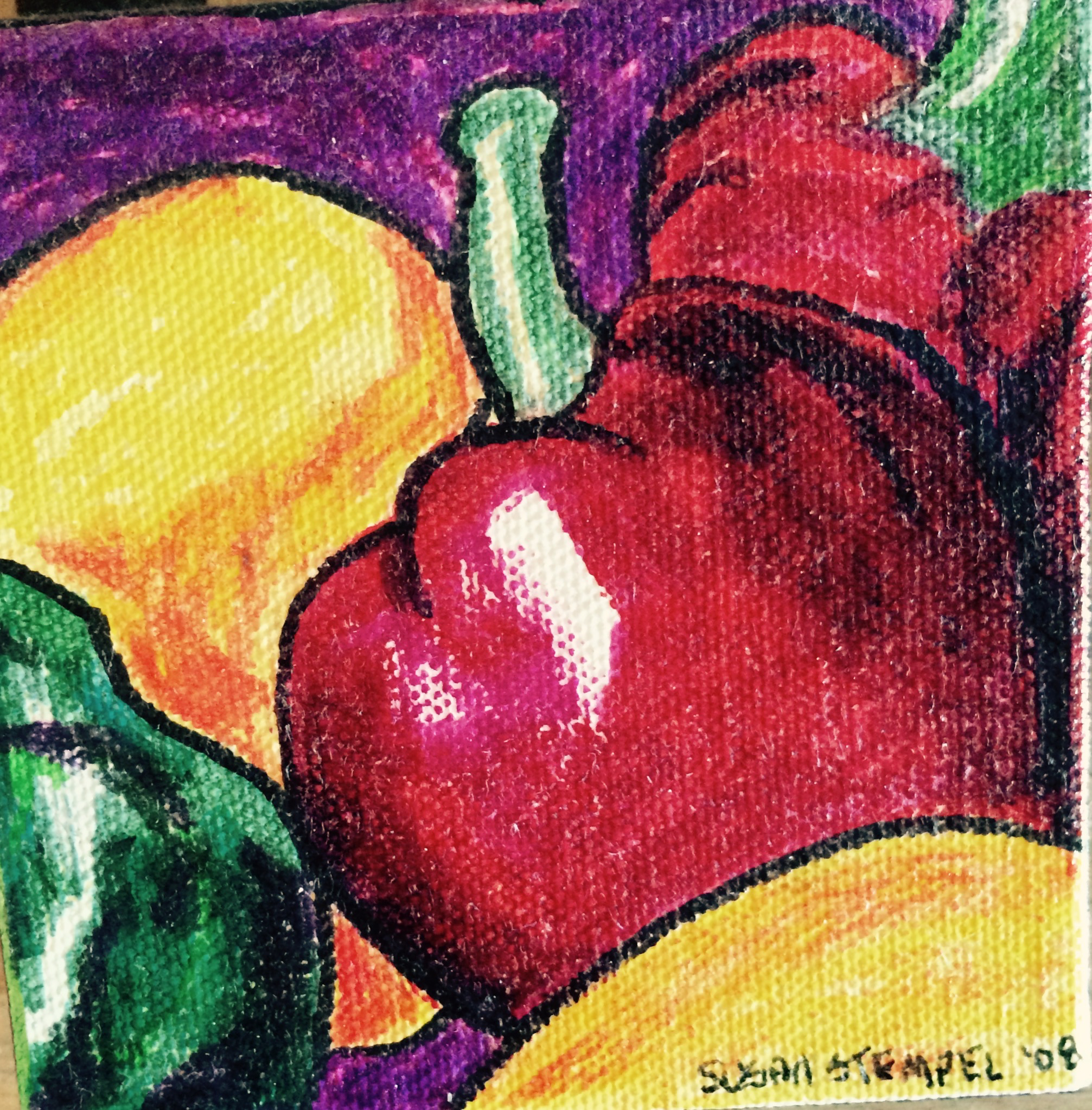 "SOLD 4' x 4"" acrylic on boxed canvas.""Cluster of peppers"""