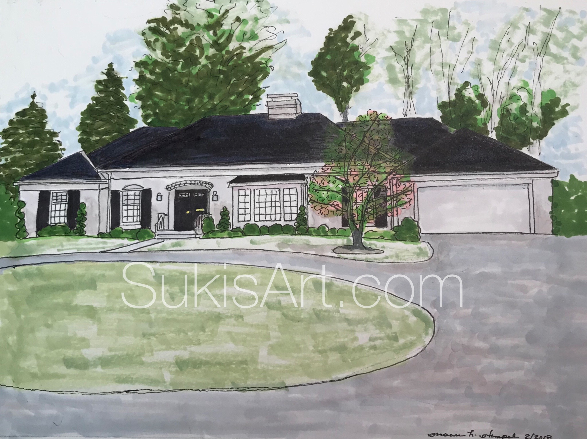 "SOLD.  8"" x 10"" mixed media on paper.  ""Rose House""."