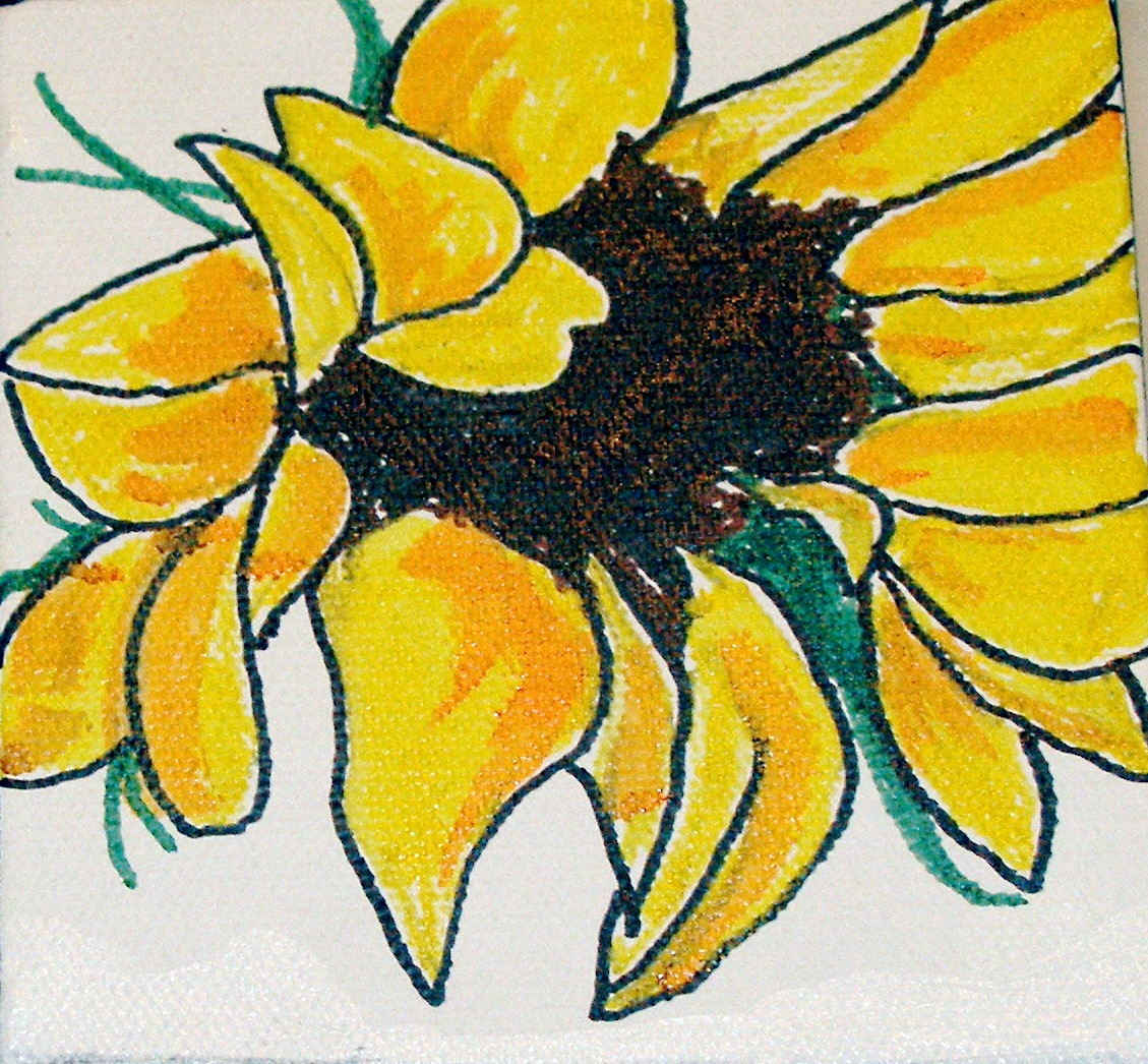 "SOLD 4"" x 4"" acrylic on boxed canvas.  ""Sunflower"""